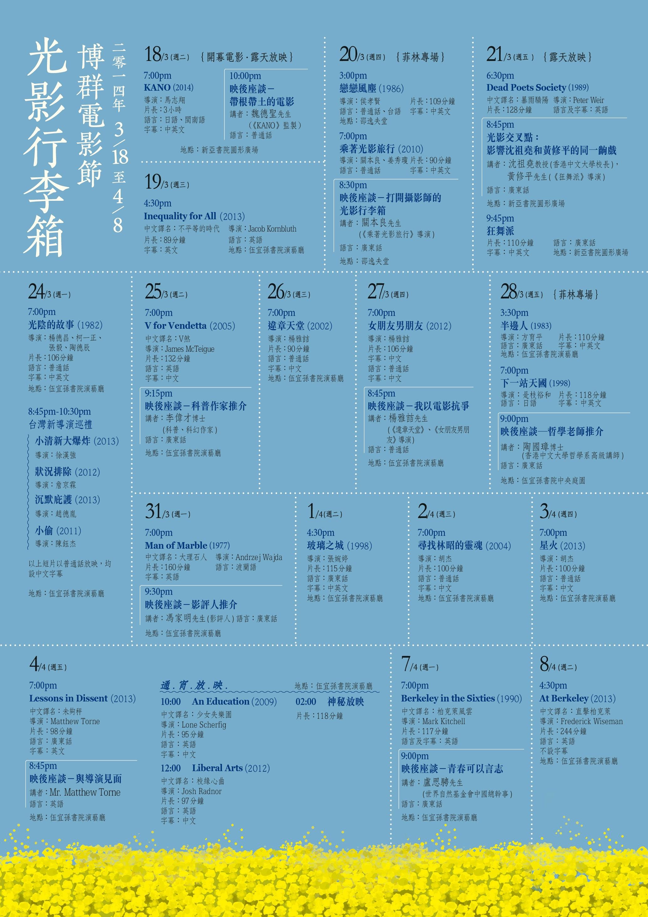 I.CARE Film Festival Screening Schedule