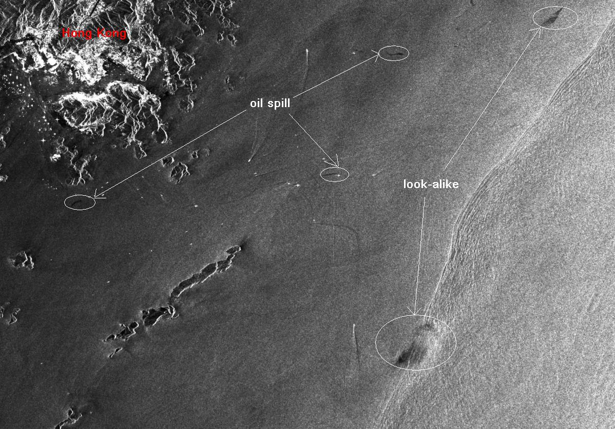 Figure 1: Overview of oil slicks and look-alikes from ASAR image on 5th June 2007