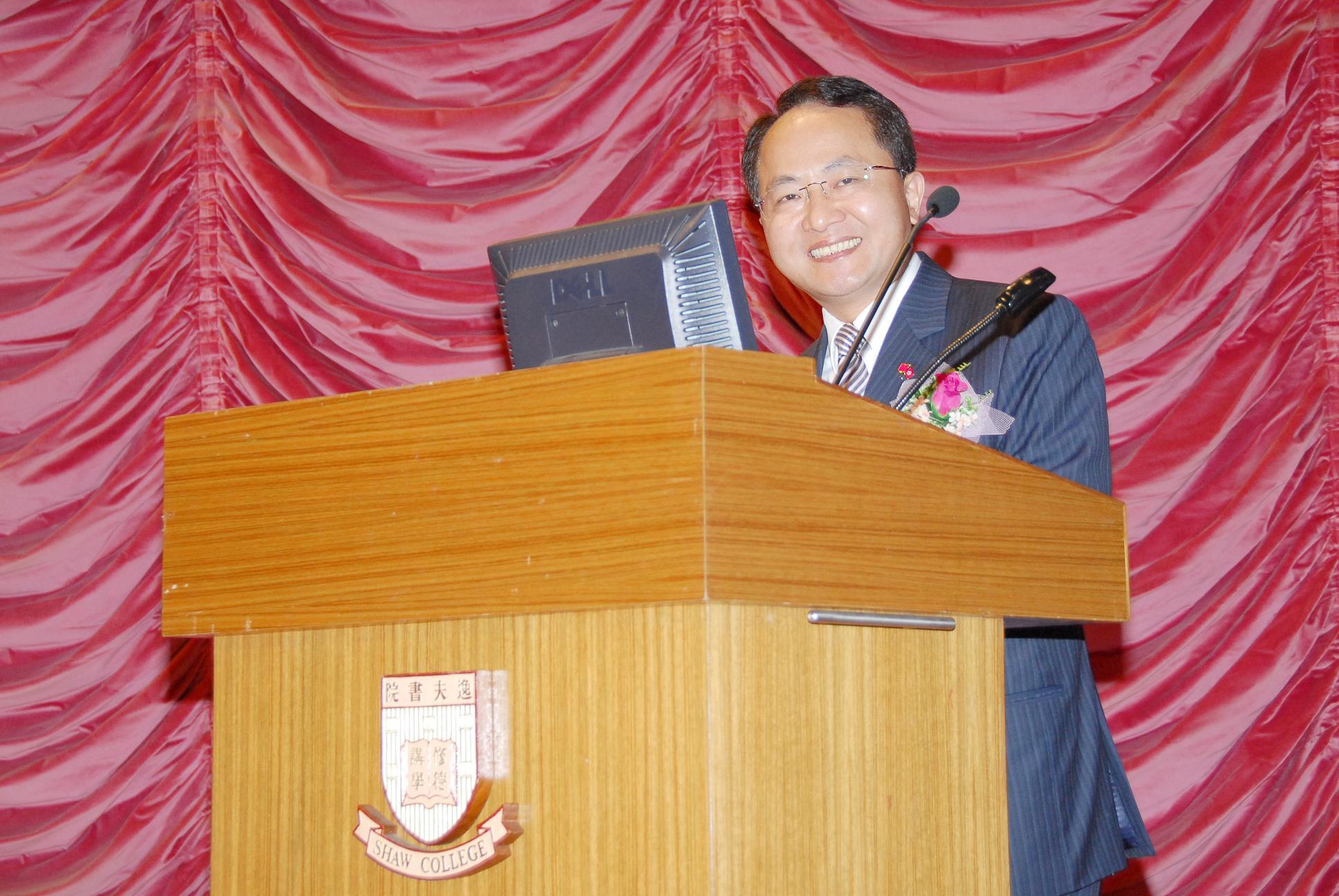 中央人民政府駐香港特別行政區聯絡辦公室副秘書長兼青年工作部部長王志民先生於歡迎儀式致詞。