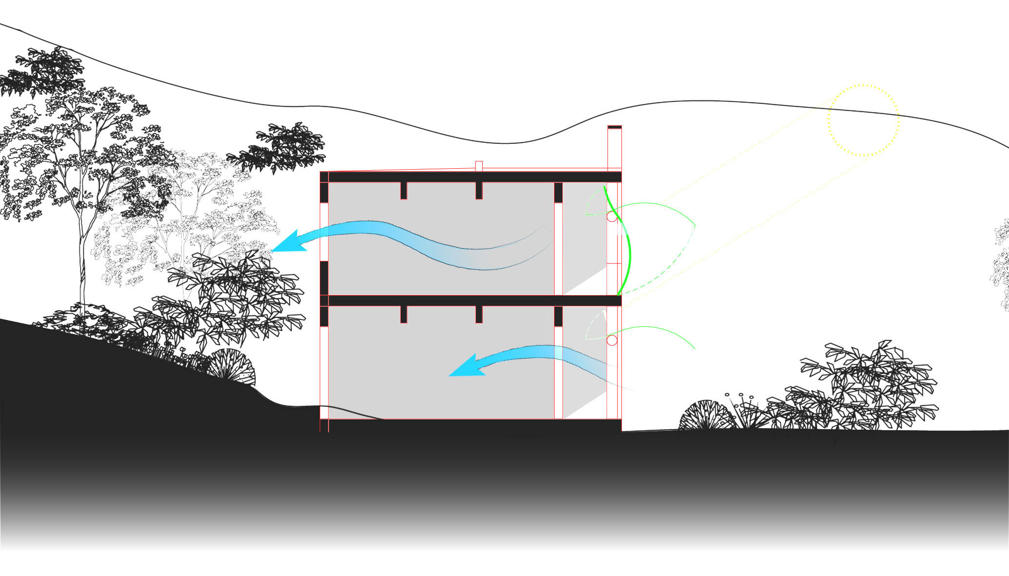 """(From left to right) Main perspective and section of """"Hainan Forest Reserve Visitor Centre - Adaptive Reuse Proposal of the Abandoned Army Camp"""""""