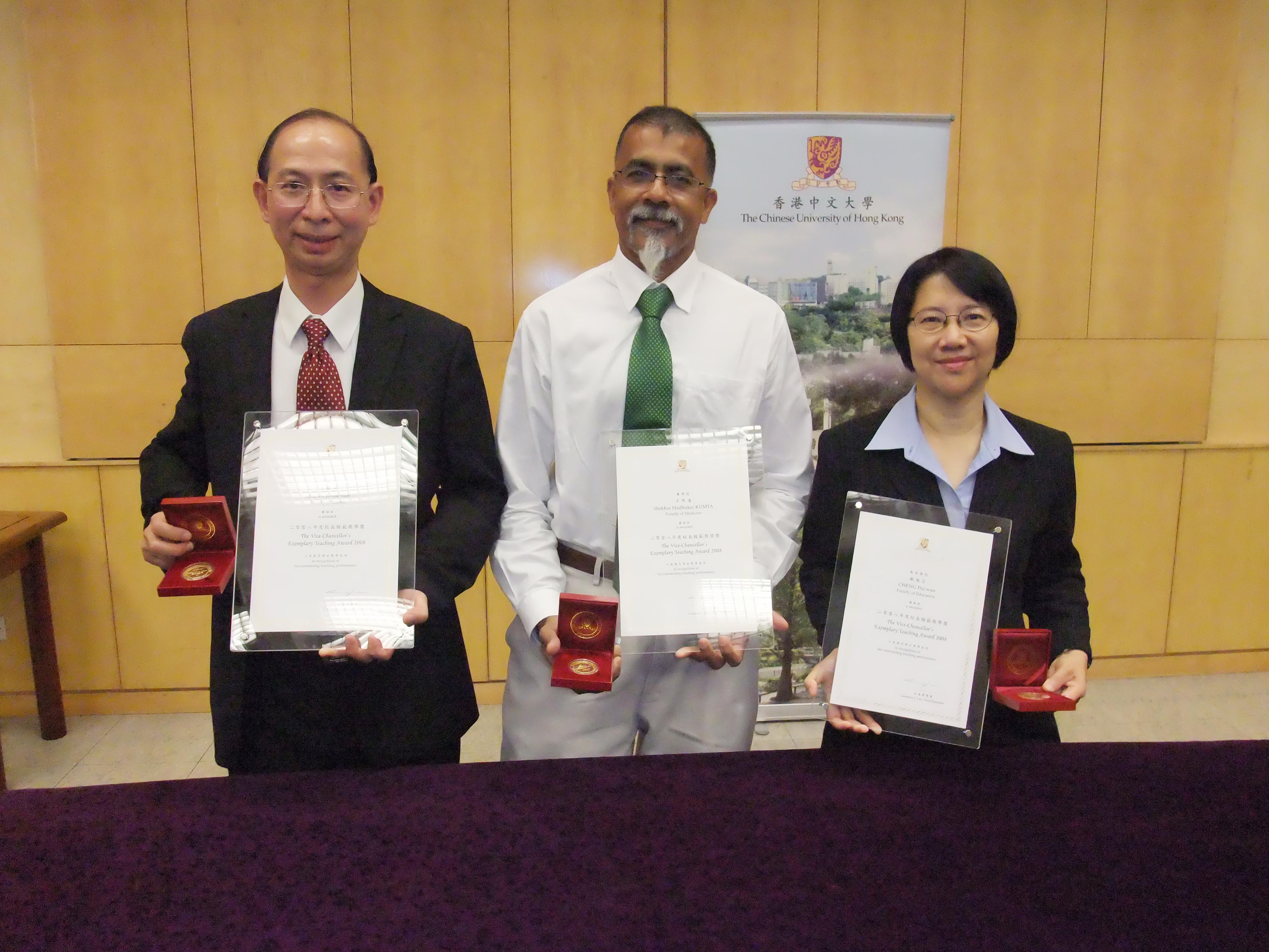 (From left) Prof. Leung Kwok-nam, Prof. Shekhar Madhukar Kumta and Prof. Cheng Pui-wan