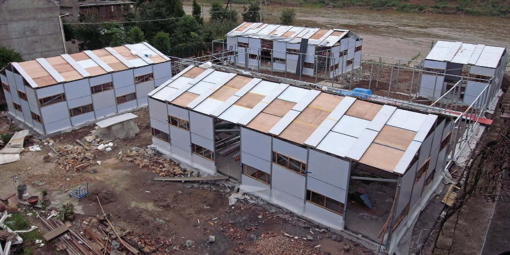 Construction process - with the guidance of CUHK researchers, the 450-square metre New Bud Primary School was built within two weeks
