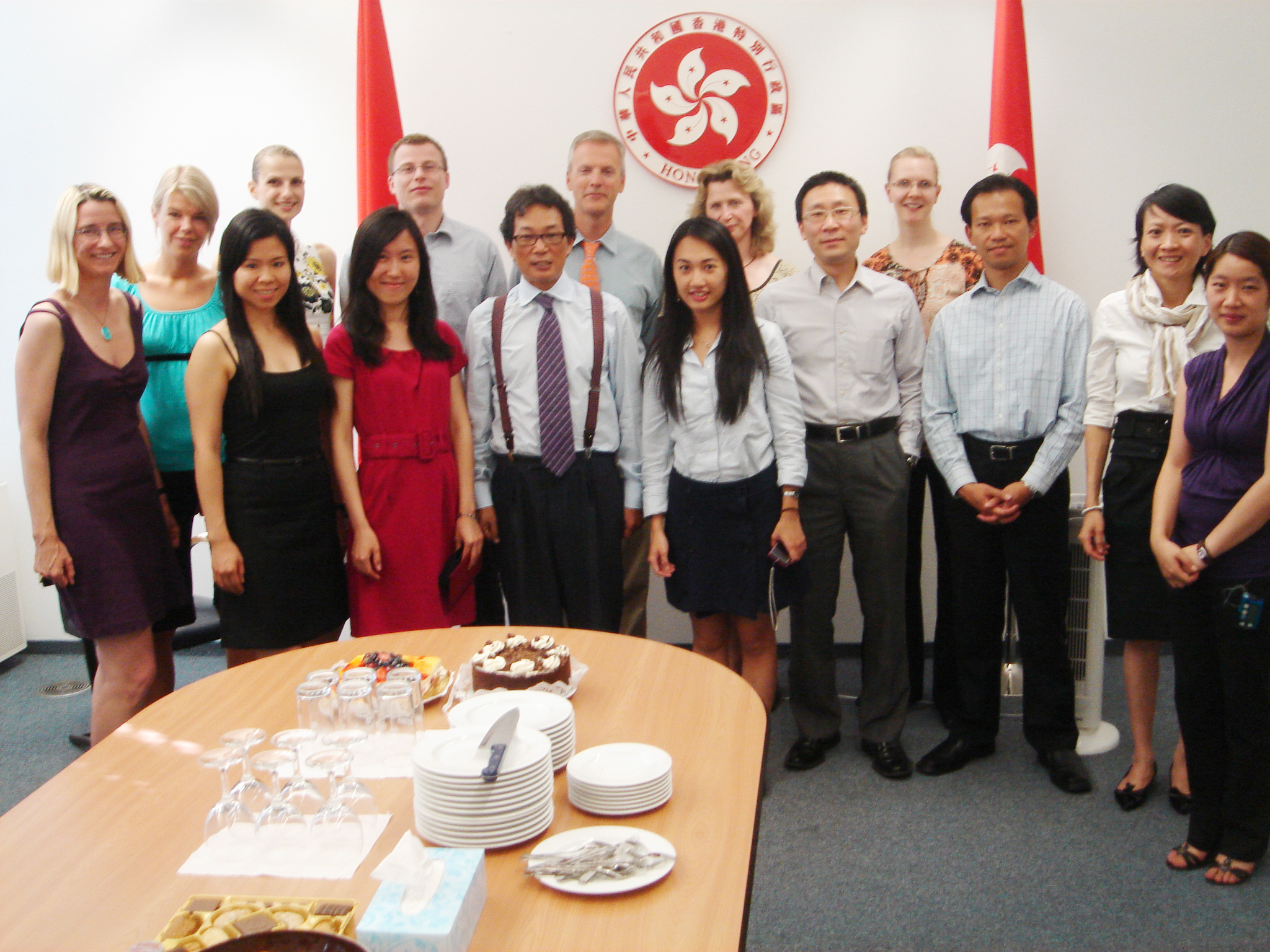 All members of ETO, Berlin throw a farewell party for Bonnie Chan (2nd left, front row) upon her completion of internship