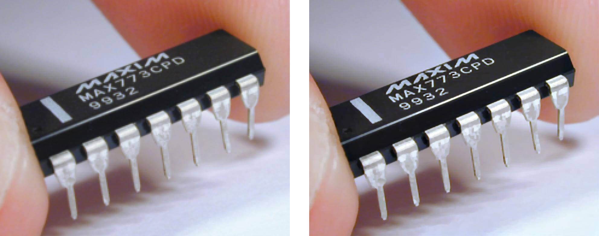 標清轉換高清技術。左圖為原本的圖片,質素差劣;右圖為中大提升其解像度後的效果