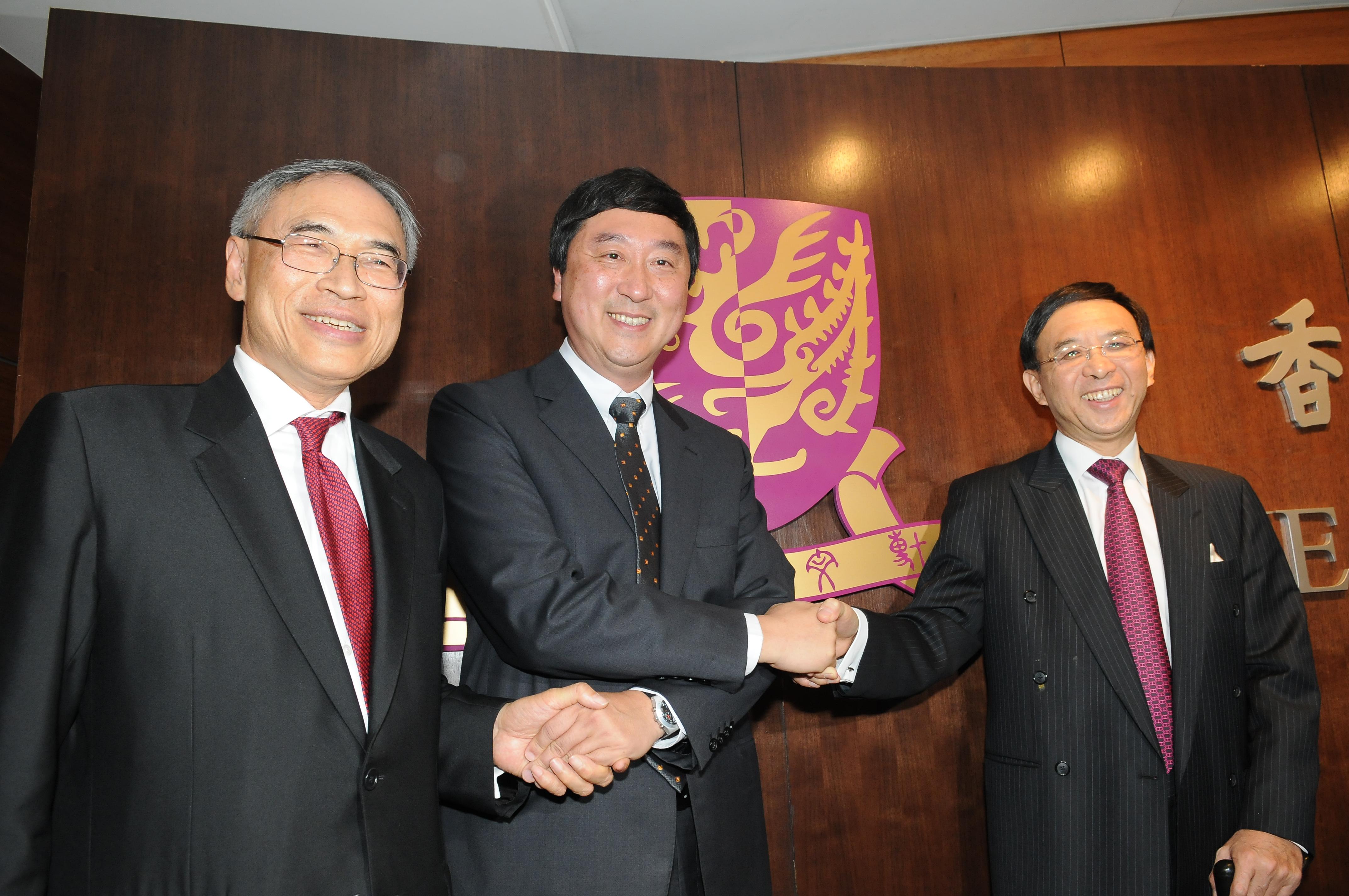 From left: Prof. Lawrence J. Lau, Vice-Chancellor, CUHK; Prof. Joseph Sung, Vice-Chancellor Designate; and Dr. Vincent Cheng, Chairman of the University Council, CUHK