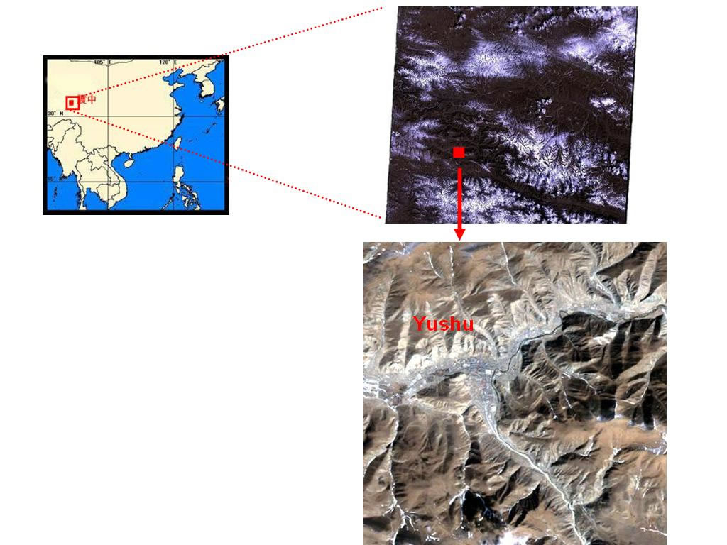 青海省玉樹(衛星Landsat TM 30米分辨率 2010年2月26日)