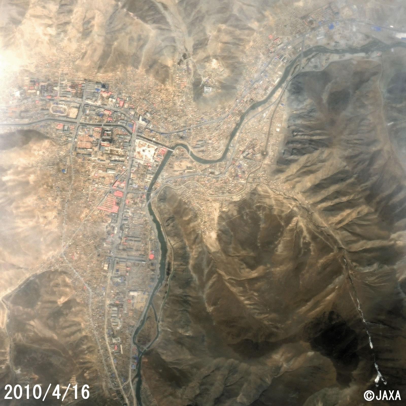 玉樹—震後(衛星SPOT 2010年4月16日2.5米分辨率合成影像)