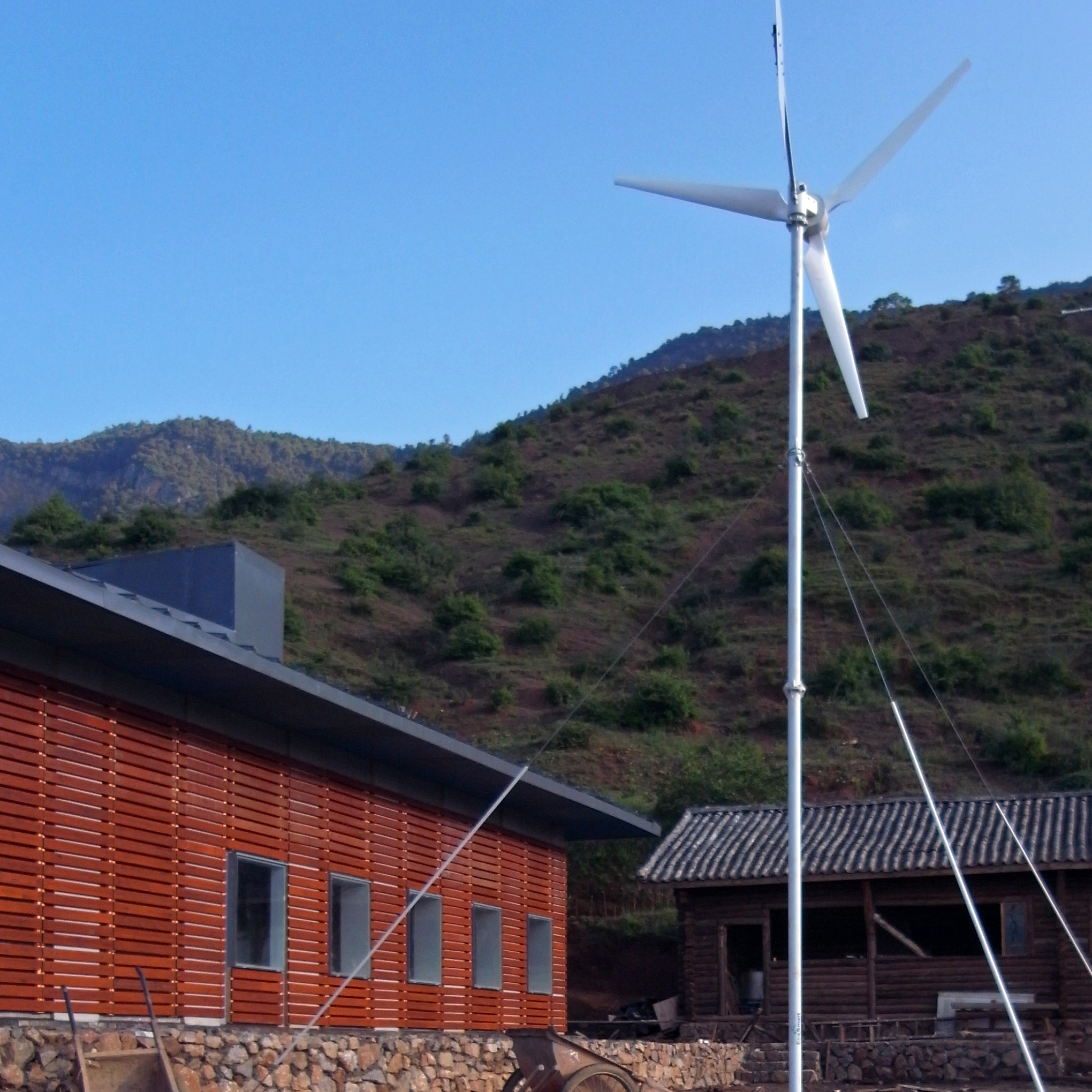 A wind turbine is used to provide clean energy for lighting