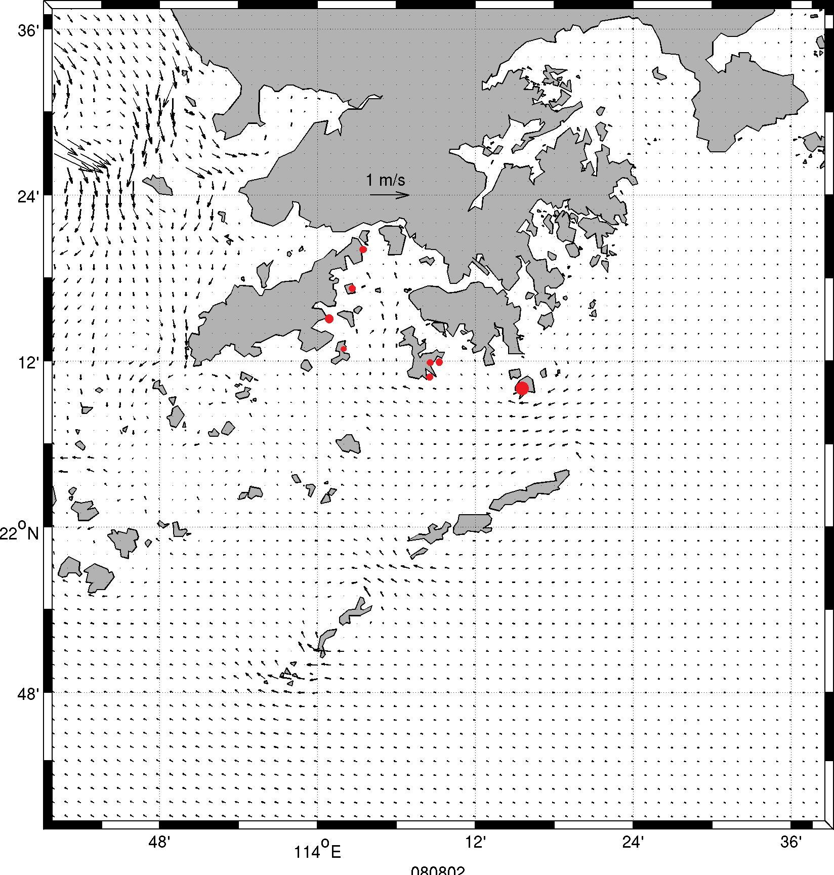 8月8日漲潮情況以及收集膠粒位置(紅圈示)