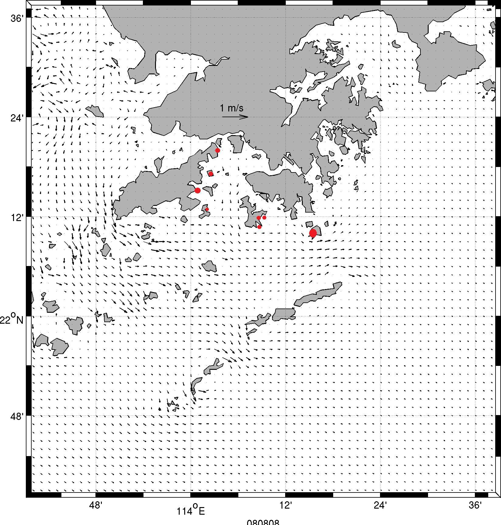 8月8日退潮情況以及收集膠粒位置(紅圈示)