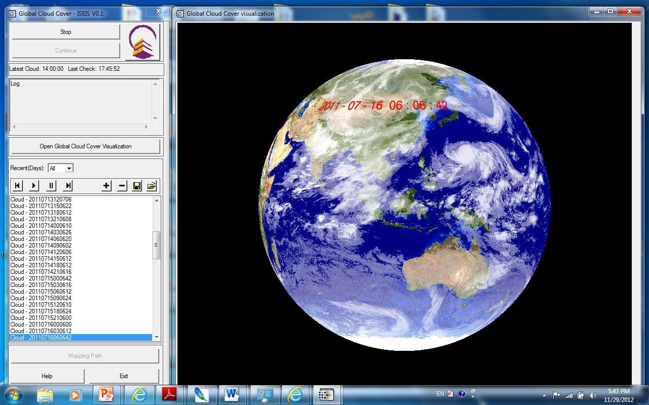 中大太空所開發的全球雲圖軟件系統