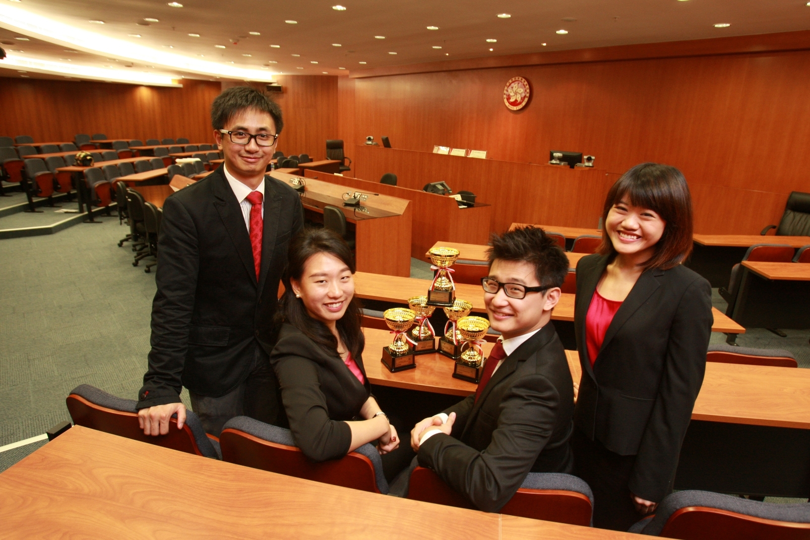 The champion team of the 7th LAWASIA International Moot Competition (from left): Ivan Lee (LLB Year 4 student), Angela Tsui (PCLL), John Li (PCLL) and Alice Leung (PCLL)