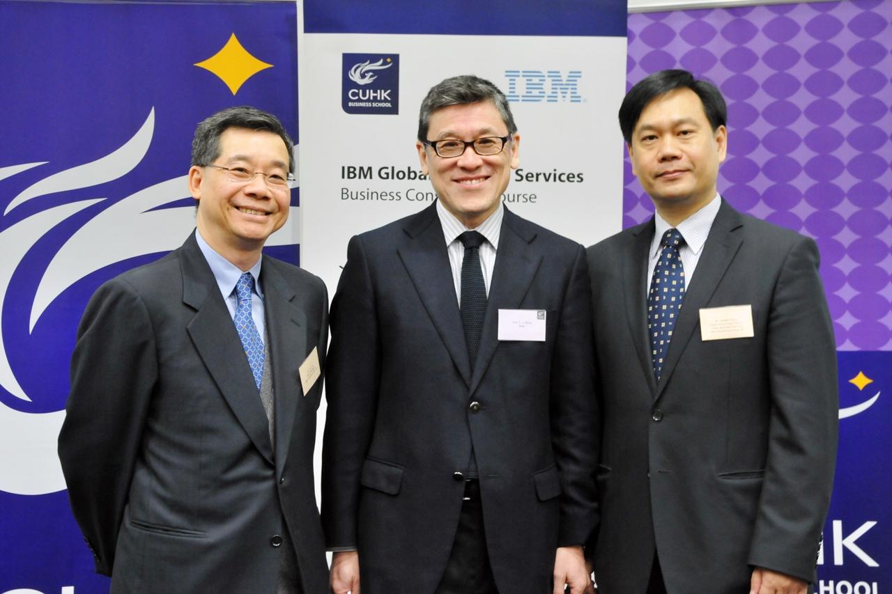 (From left) Mr. Tony Tai, General Manager, IBM China/Hong Kong Ltd; Prof. TJ Wong, Dean, CUHK Business School; Mr. Joseph Wong, Partner and Hong Kong Practice Leader, Global Business Services, IBM China/Hong Kong Ltd