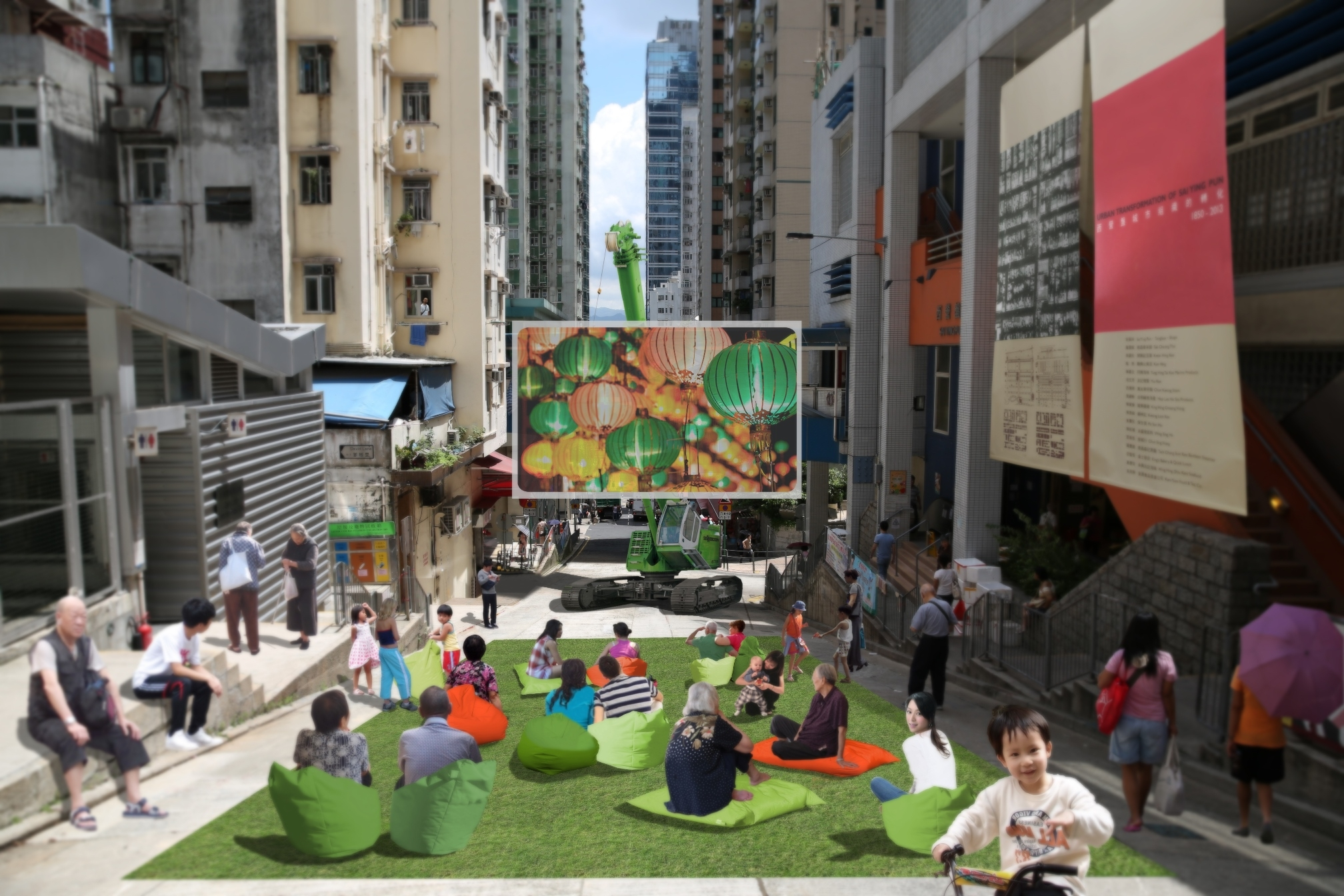 """""""Magic Carpet: Re-envisioning Community Space in Sai Ying Pun"""" transforms the sloped Centre Street in Sai Ying Pun into an outdoor cinema for one night at the Mid-autumn Festival. (Image:Francesco Rossini)"""