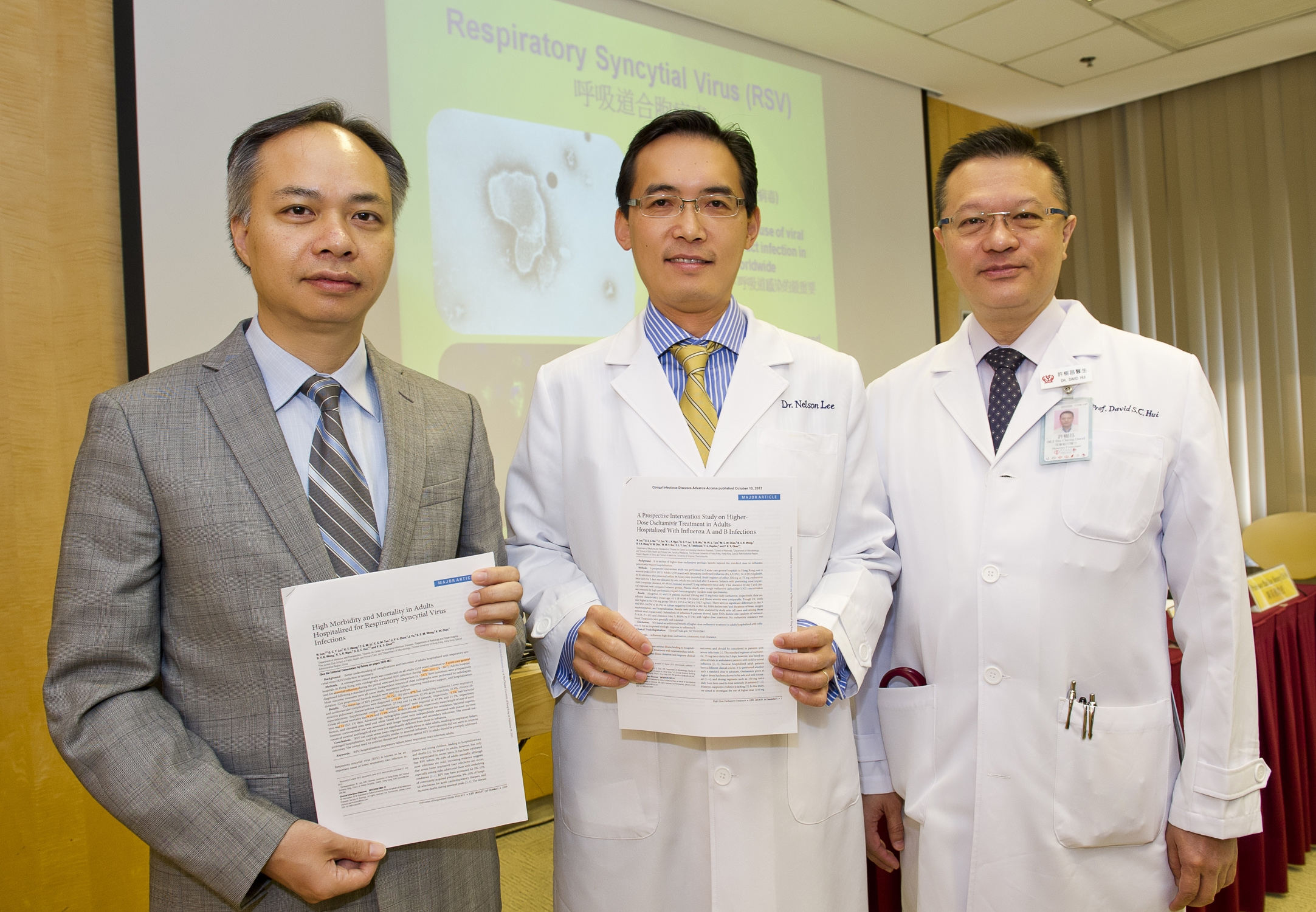 (From left) Prof. Paul K.S. CHAN, Chairman, Department of Microbiology; Prof. Nelson L.S. LEE, Head of Division of Infectious Diseases, Department of Medicine & Therapeutics; and Prof. David S.C. HUI, Stanley Ho Professor of Respiratory Medicine, Department of Medicine and Therapeutics at CUHK present their two recent research studies which reveal infections caused by RSV and influenza among Hong Kong adults and elderly could be life-threatening.