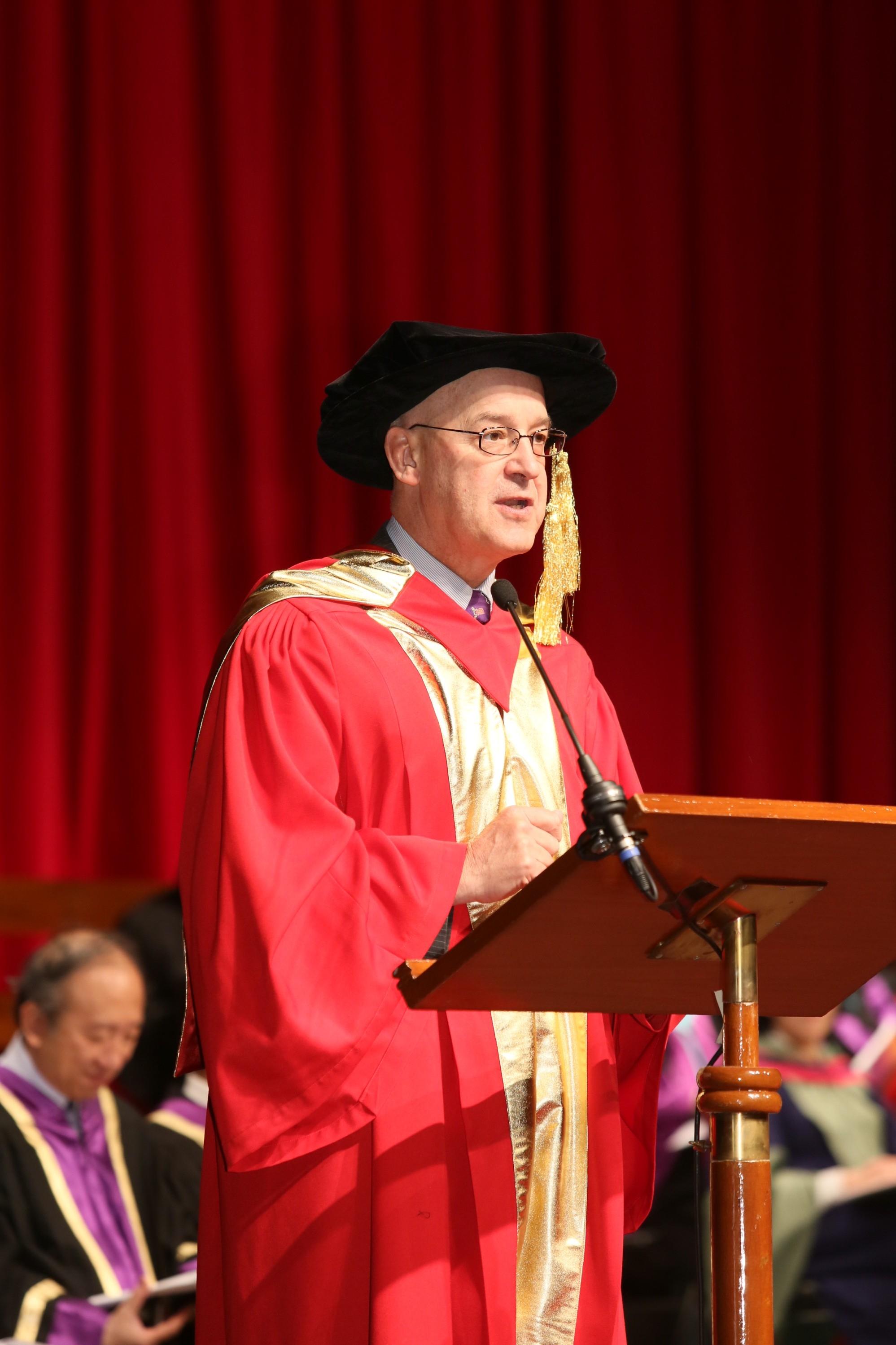 Prof. Andrew D. Hamilton delivers a speech