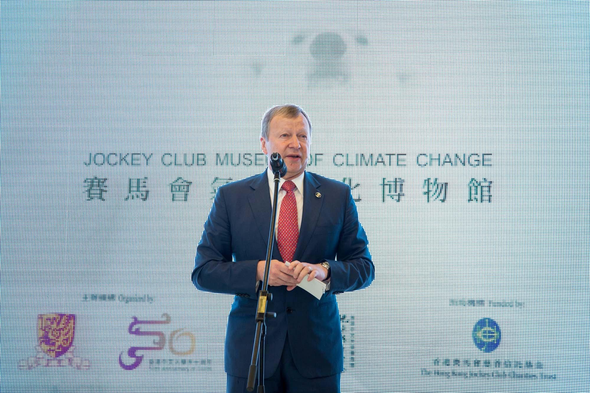 Mr Winfried ENGELBRECHT-BRESGES, Chief Executive Officer of the Hong Kong Jockey Club, gives a speech.