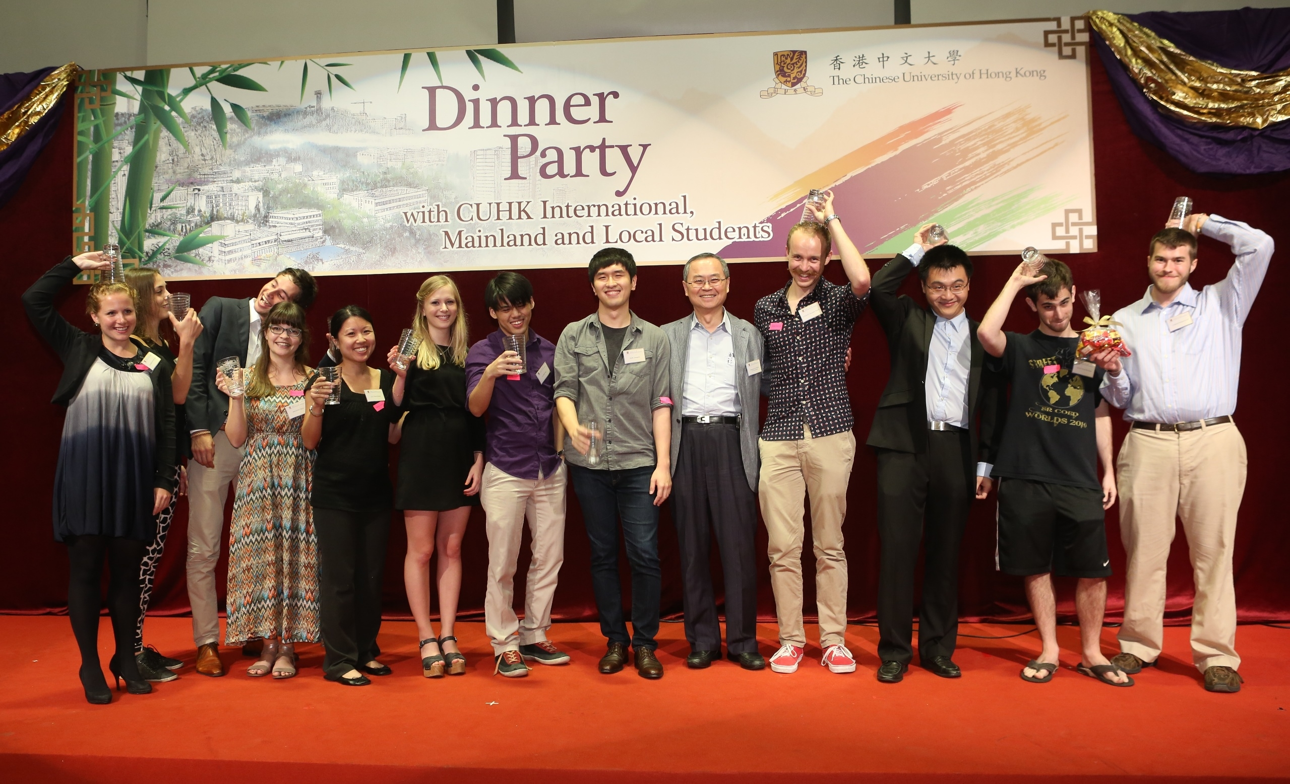 Students having fun in drinking competition with western beer, Chinese herbal tea and Japanese umeshu.