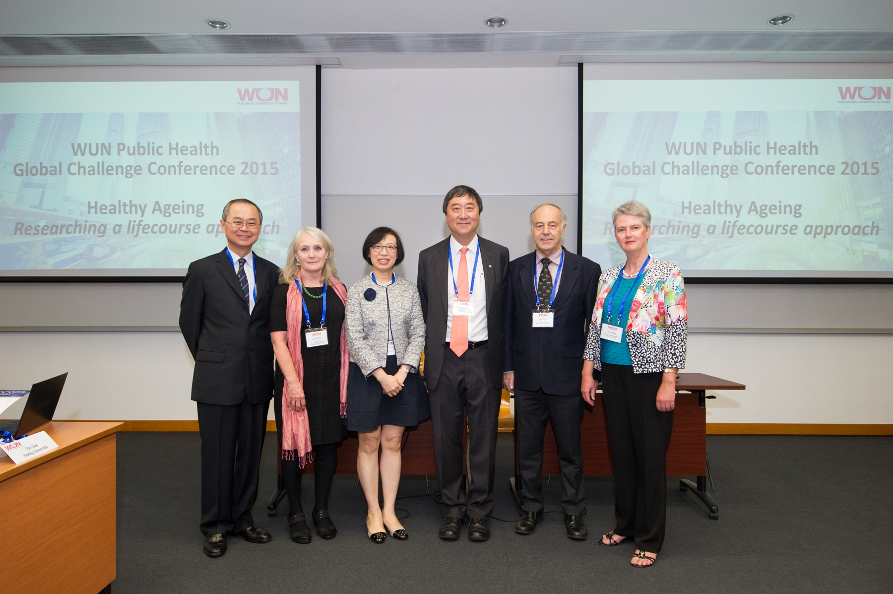 (From left) Prof. Tai-fai Fok, Pro-Vice-Chancellor, CUHK; Prof. Sian Griffiths, Emeritus Professor, Jockey Club School of Public Health and Primary Care; Prof. Sophia Chan, Under Secretary for Food & Health of the HKSAR Government; Prof. Joseph Sung, Vice-Chancellor, CUHK; Prof. John Hearn, Executive Director, WUN; and Prof. Jane Harding, Deputy-Vice Chancellor (Research), The University of Auckland at the WUN Public Health Global Challenge Conference  on Healthy Ageing
