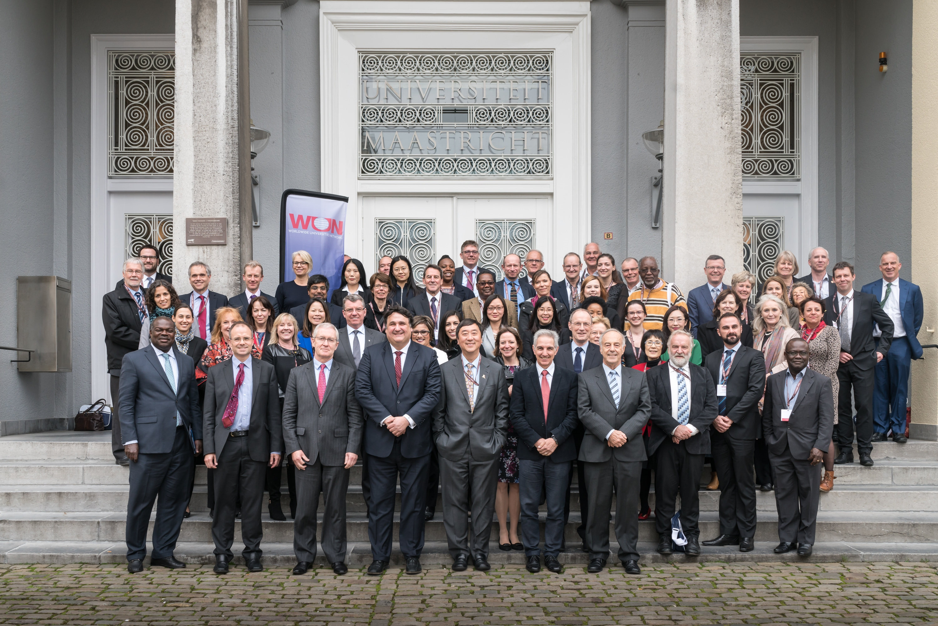 Representatives from member universities gather for a group photo at the WUN Conference and AGM 2016 in Maastricht