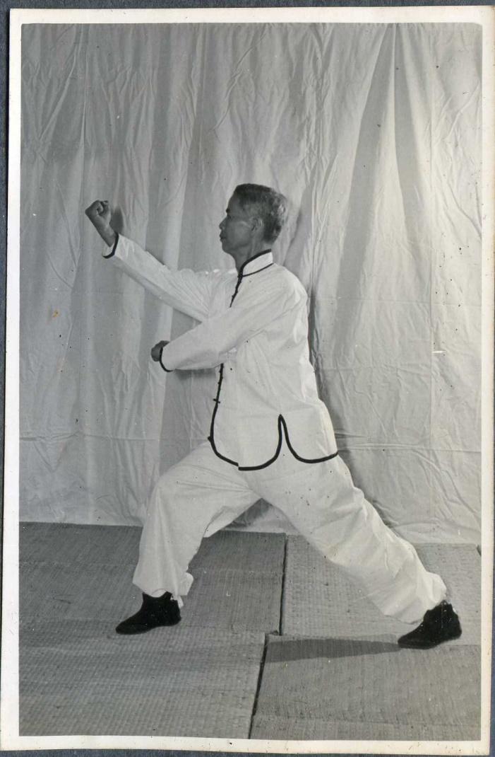 黃漢勛先生之螳螂拳演式——「登山右崩捶 」。