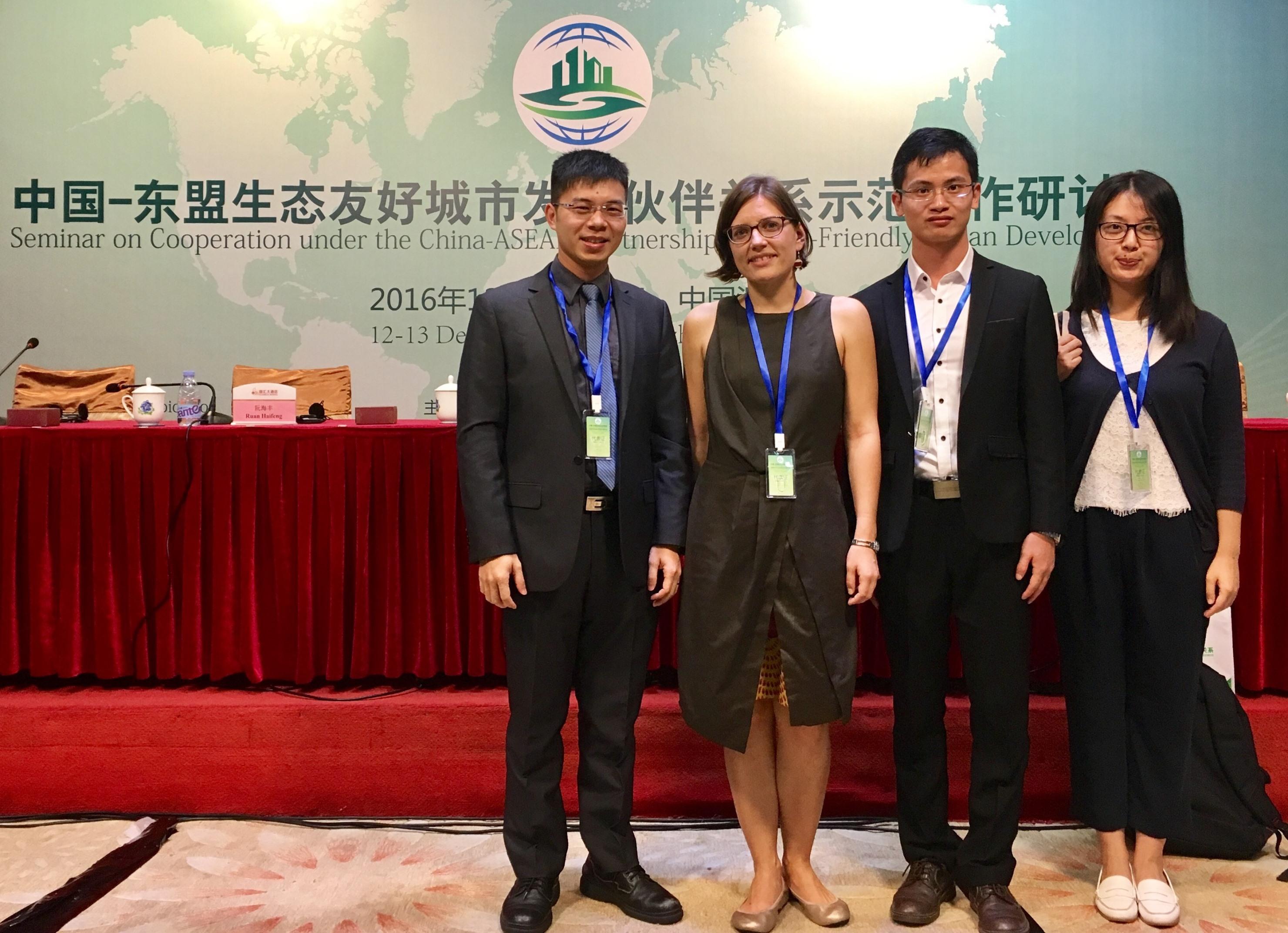 Dr. Zhang Hongsheng (1st left) and Ms. Nina Raasakka, UNEP officer (2nd left).