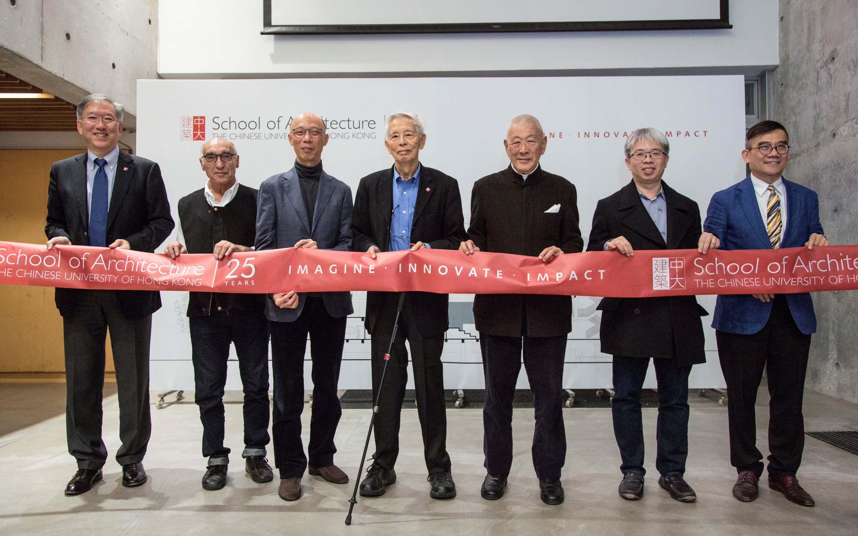(From left) Prof. Nelson Chen, Director of the School of Architecture, CUHK; Prof. Essy Baniassad, Former Chairman of the Department of Architecture; Mr. Wong Kam-sing, Secretary for the Environment of the HKSAR Government; Prof. Tunney Lee, Founding Chairman of the CUHK architecture programme; Mr. James Kinoshita, renowned architect and donor of the Kinoshita Lectures in Architecture; Prof. Chiu Chi-yue, Dean of Social Science, CUHK; Prof. Ho Puay Peng, Former Department Chairman and School Director of the CUHK architecture programme.