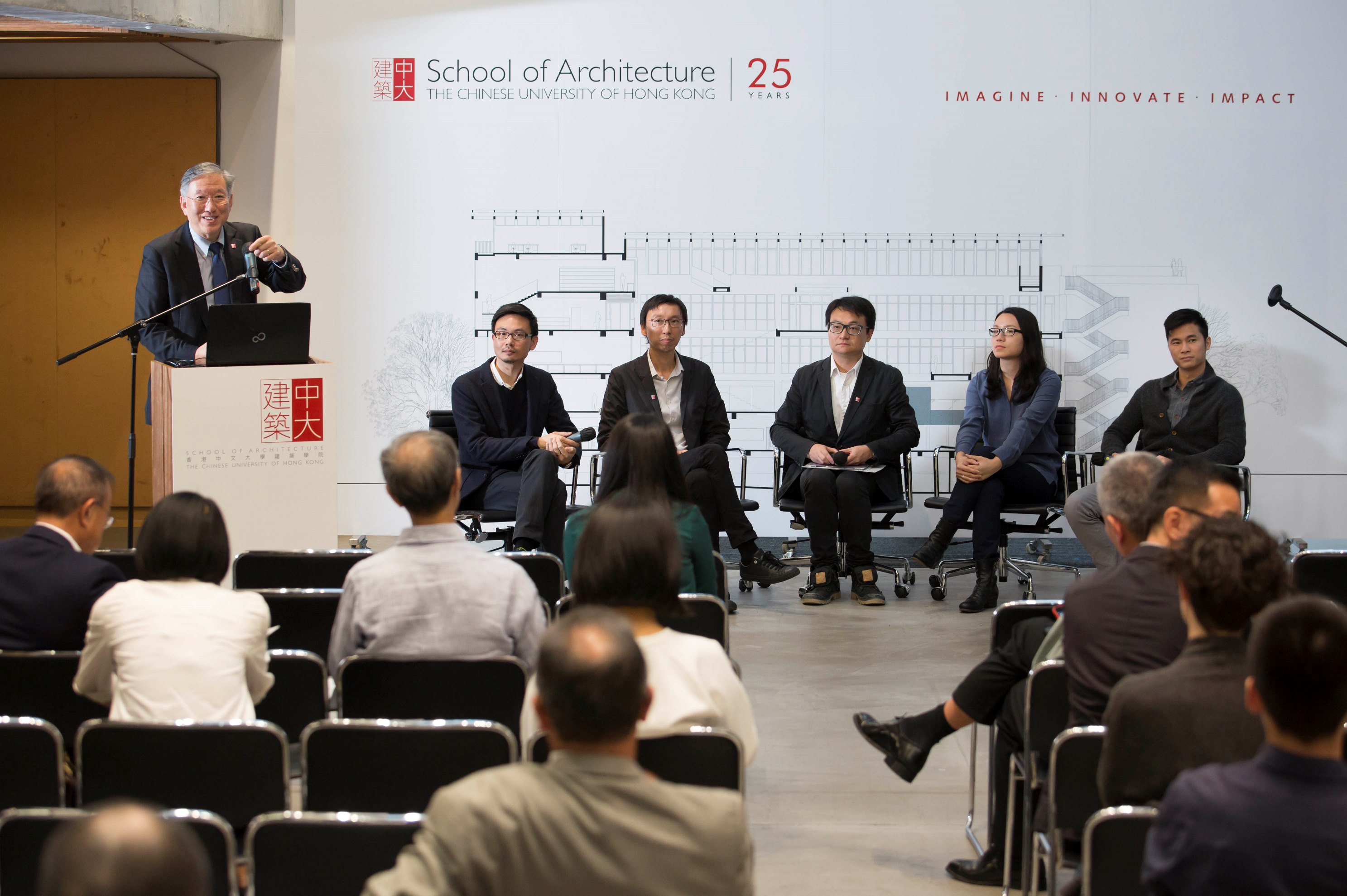 Five alumni sharing their diverse career paths at the Architecture Symposium.