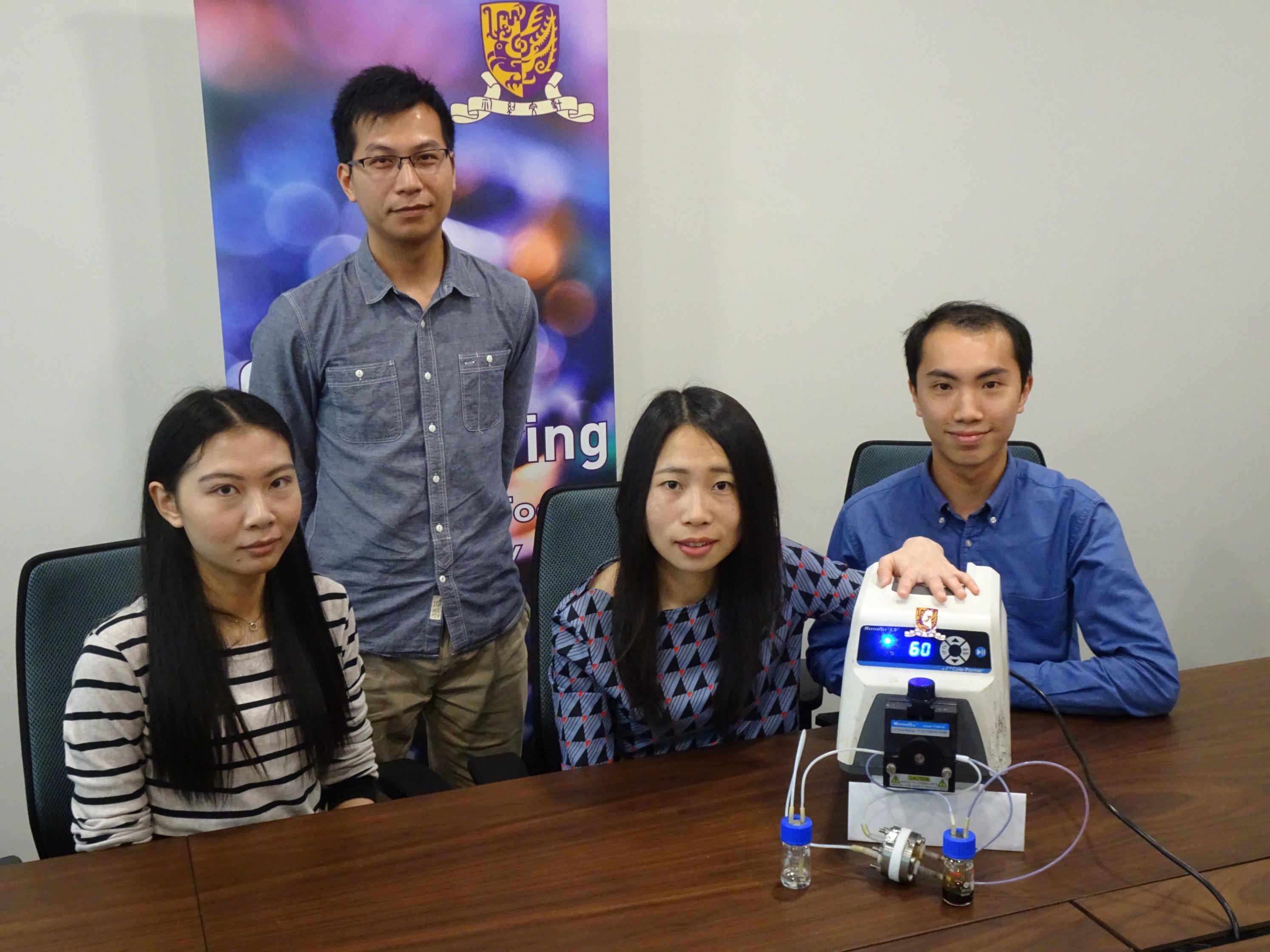 (左起)中大機械與自動化工程學系博士研究生李喆珺小姐、副研究員翁國明博士、盧怡君教授,以及研究助理譚朗彥先生。