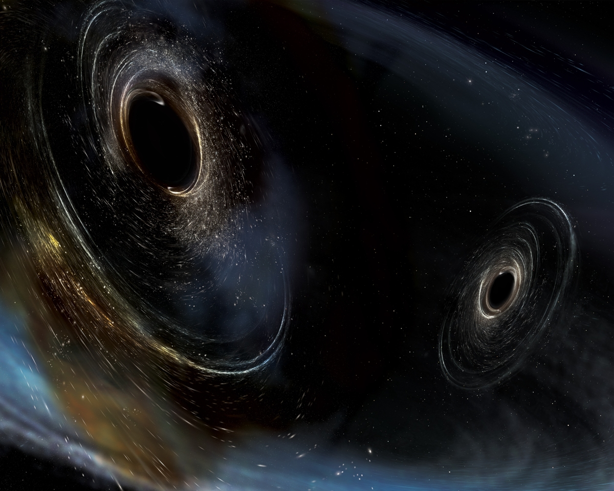 The third detection of gravitational waves generated from the collision of two black holes which were 19 and 31 times the mass of the Sun. This detection appears to be the farthest yet, with the black holes located about 3 billion light-years away. (Credit: LSC/Sonoma State University/Aurore Simonnet)
