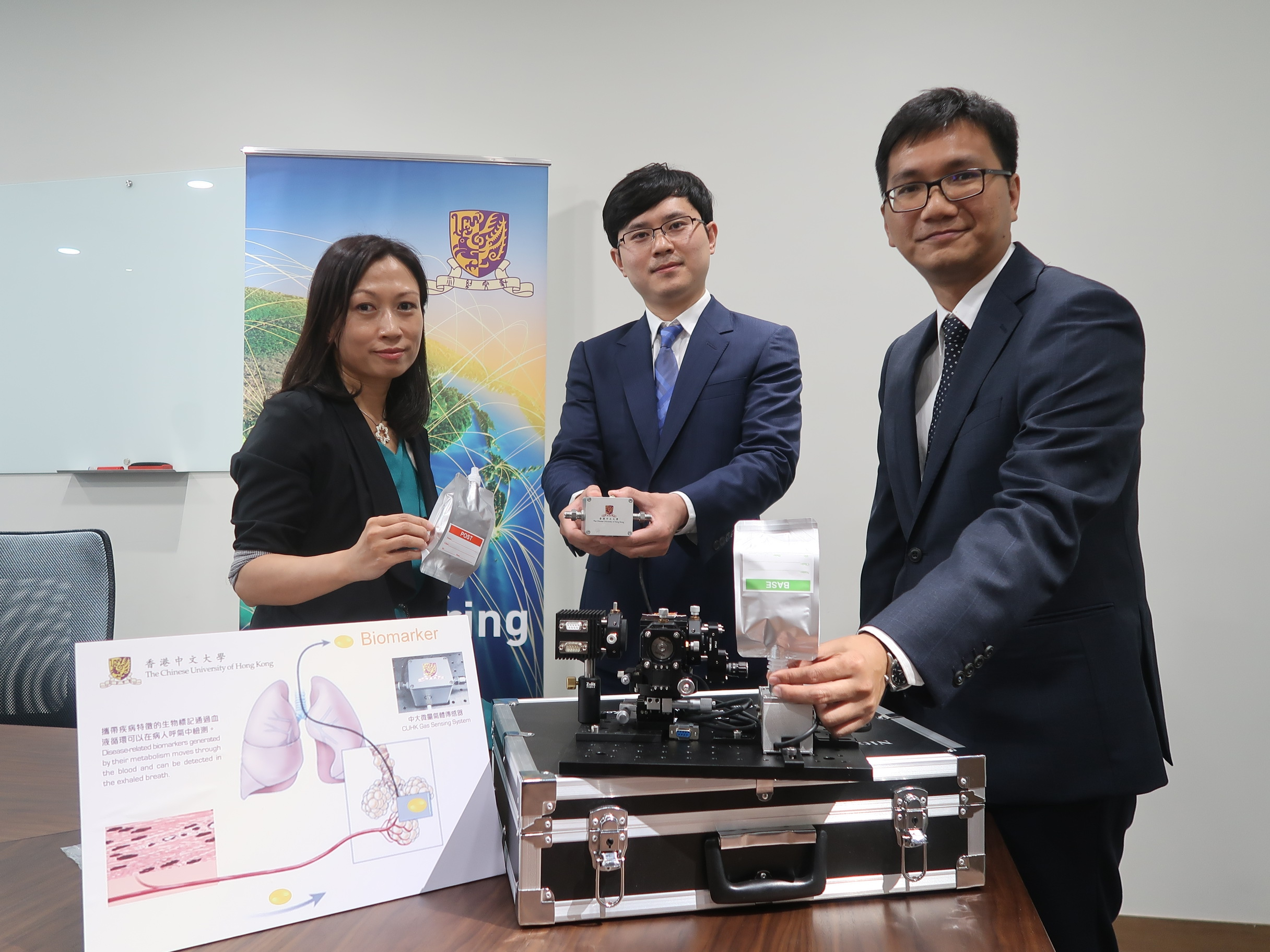 (From left) Ms CHING Yuet Ling, Chief Nursing Officer, Department of Medicine and Therapeutics; Prof. REN Wei, Assistant Professor, Department of Mechanical and Automation Engineering; and Prof. HO Kin Fai, Assistant Professor, The Jockey Club School of Public Health and Primary Care, CUHK.