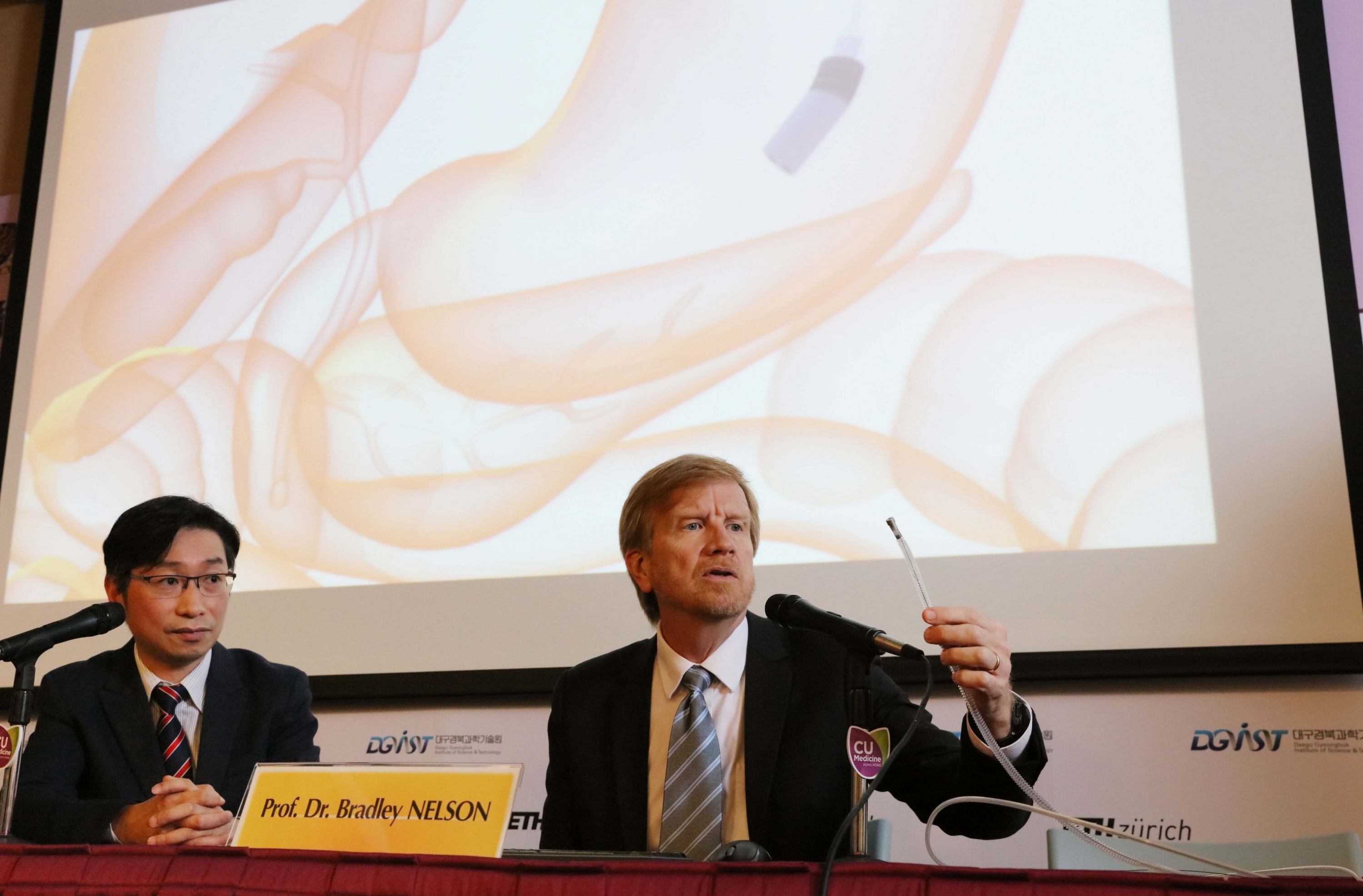 Prof. Dr. Bradley NELSON (right), Director of the Multi-Scale Robotics Lab, Institute of Robotics and Intelligent Systems, ETH Zurich displays animation of an innovative magnetic guided endoscope for small intestine check-up