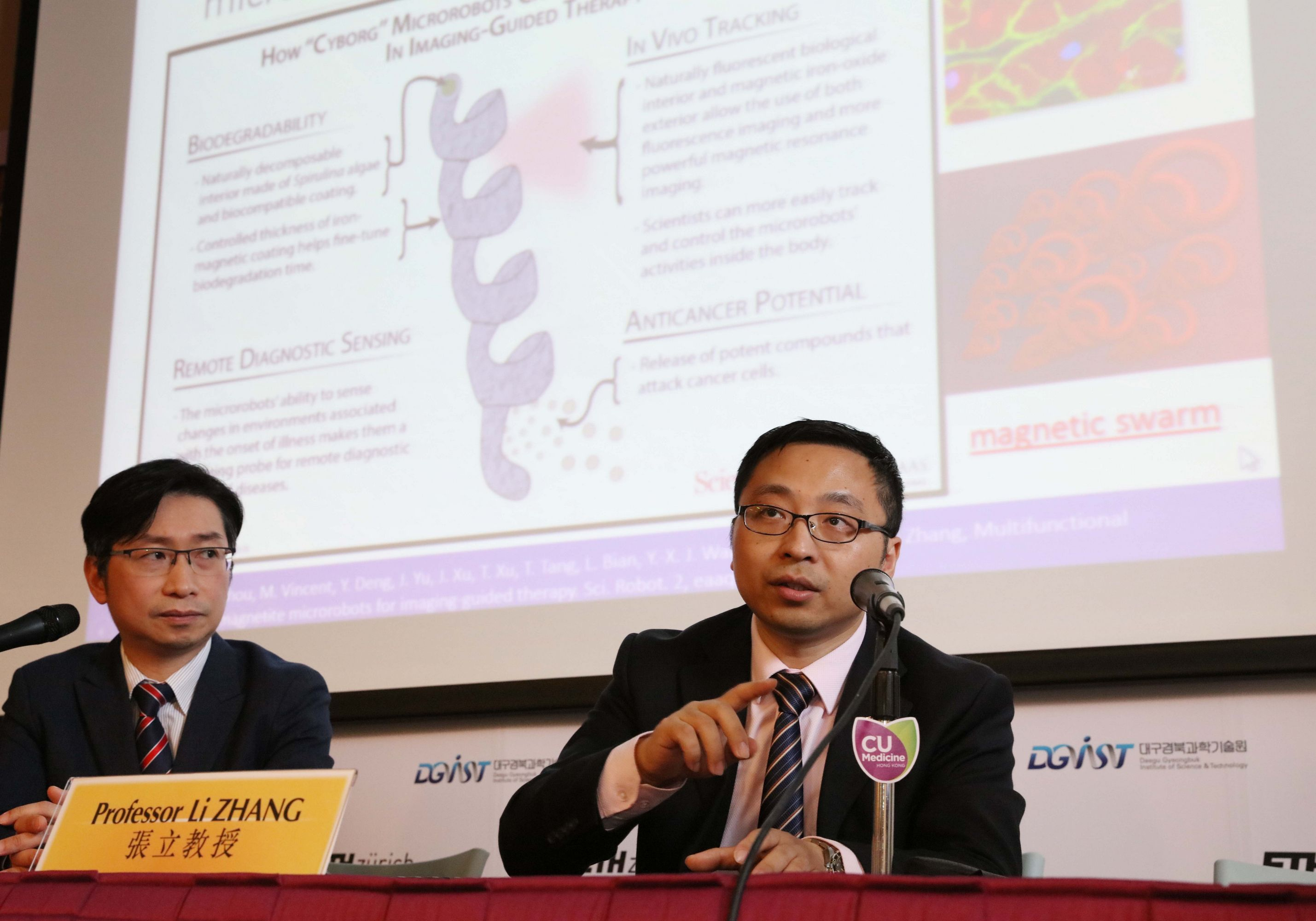 Prof. Li ZHANG (right), Associate Professor, Department of Mechanical and Automation Engineering, CUHK says in combination with endoscopy, microbots can help enhance the imaging contrast, direct drug delivery and provide localized therapy with high precision in vivo