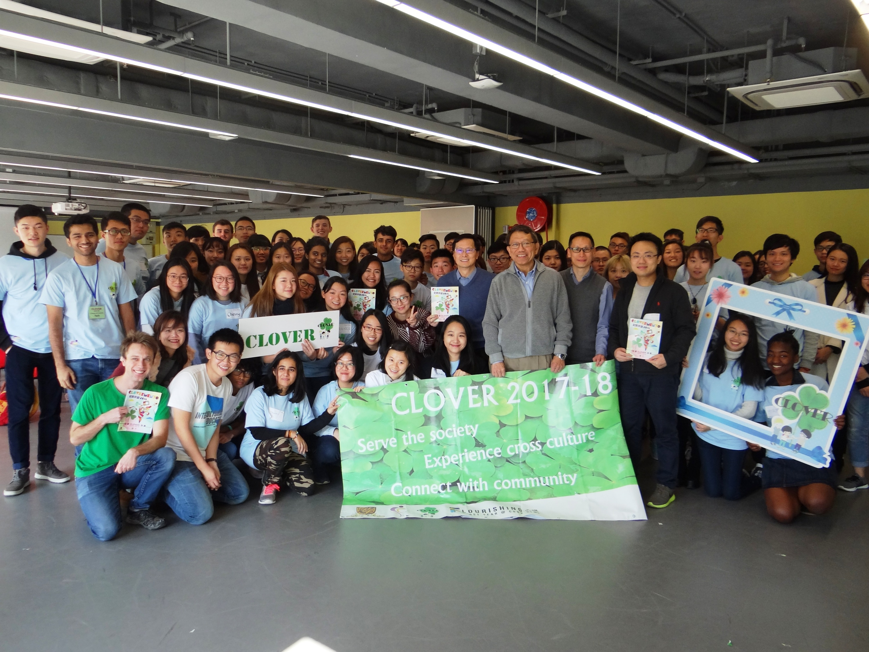 Professor Rocky S. Tuan, Vice-Chancellor and President of CUHK, and students participating in the cultural diversity and voluntary service programme CLOVER in its ninth year