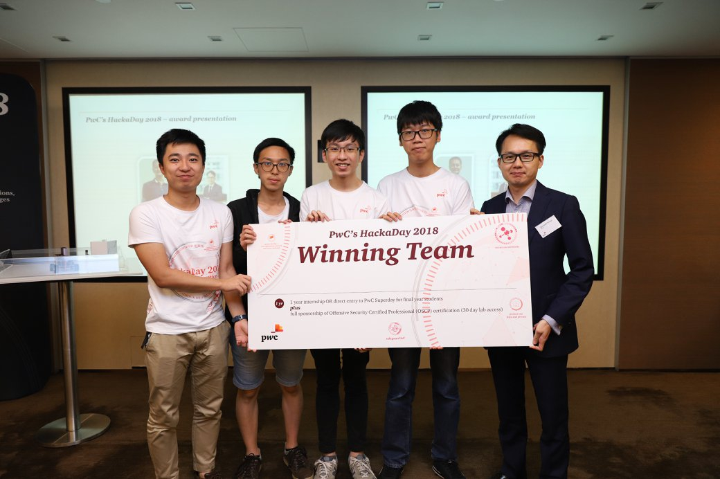 CUHK team wins for the second consecutive year the PwC HackaDay.    (From left) Yihui ZENG, Siu Chun CHAN, Shing Yuet LEUNG and Cham Fei TONG.