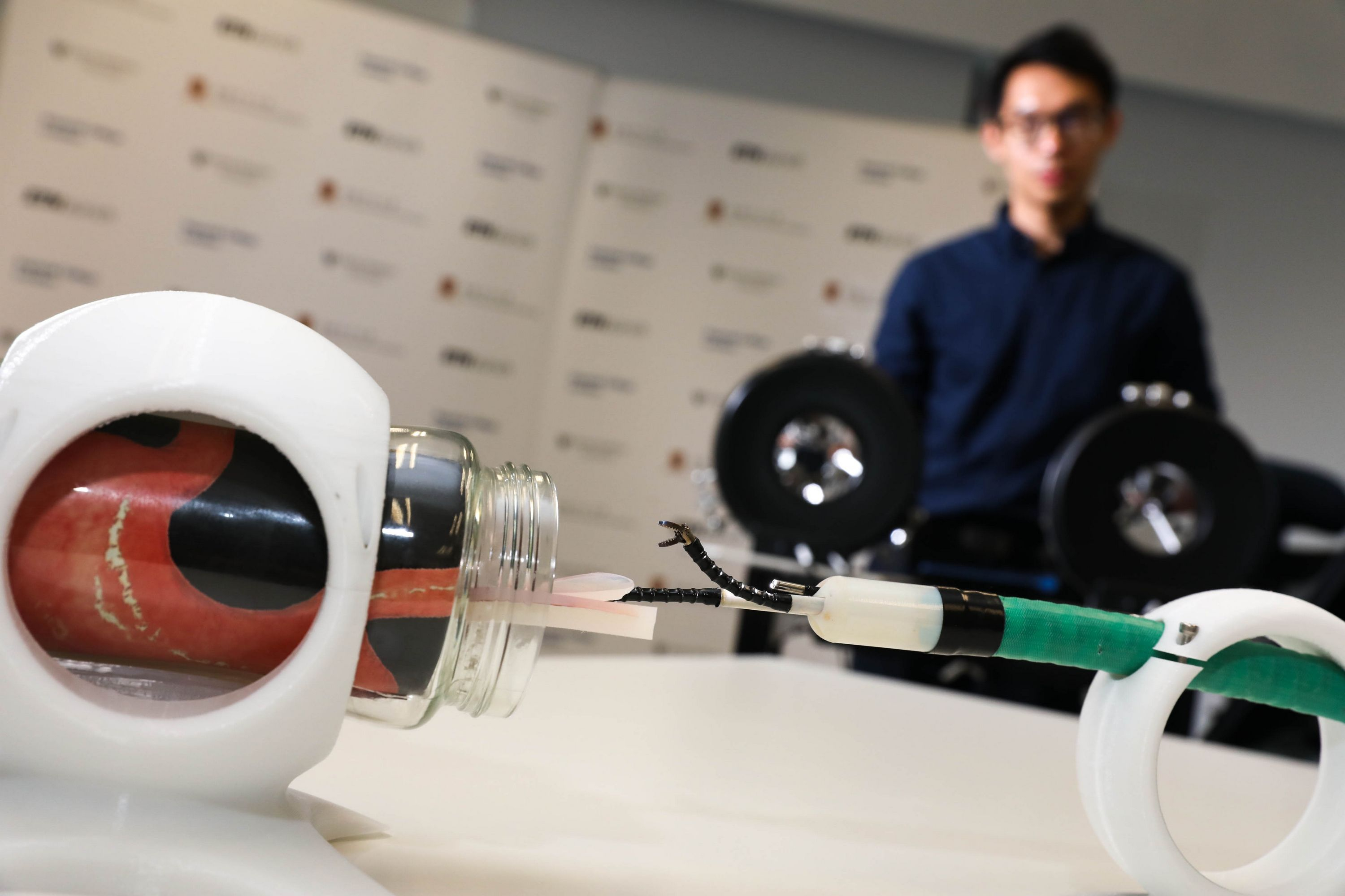 """CUHK partners with Imperial College London to develop the """"Robotic Endoscopic Platform for Performance of Advanced Endoluminal Surgery"""", which consists of two robotic arms, and is proved to be able to perform gastric endoscopic submucosal dissection in preclinical study."""