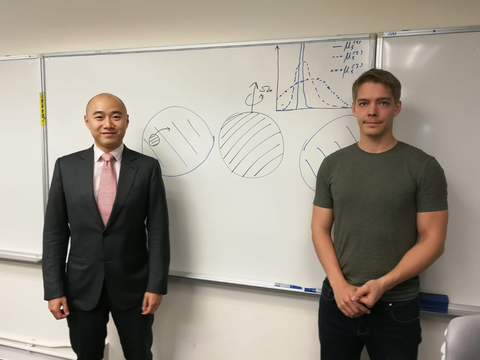 (from left) Professor Tjonnie Li, Assistant Professor from the Department of Physics of CUHK and his PhD student Otto Hannuksela.
