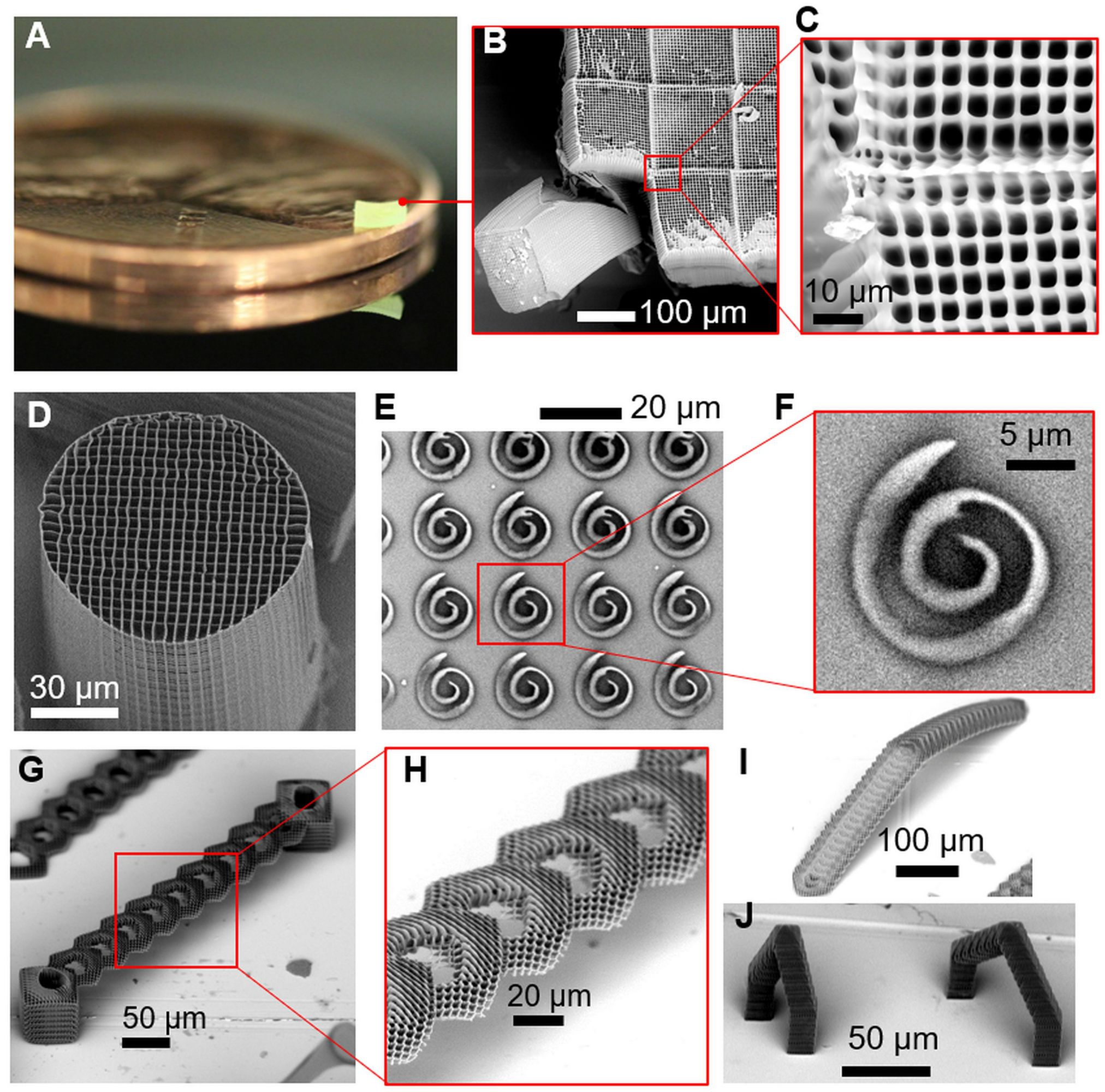Fig. 1. Printing of complex 3D structures with submicron resolution via FP-TPL. (A to C) Millimeter-scale structure with submicrometer features supported on a U.S. penny on top of a reflective surface. The 2.20 mm × 2.20 mm × 0.25 mm cuboid was printed in 8 min 20s, demonstrating a 3D printing rate of 8.7 mm3/hour. In contrast, point-scanning techniques would require several hours to print this cuboid. (D) A 3D micropillar printed through stacking of 2D layers, demonstrating uniformity of printing that is indistinguishable from that of commercial serial-scanning systems. (E and F) Spiral structures printed through projection of a single layer demonstrating the ability to rapidly print curvilinear structures within single-digit millisecond time scales without any stage motion. (G to J) Overhanging 3D structures printed by stitching multiple 2D projections demonstrating the ability to print depth-resolved features. The bridge structure in (G), with 90° overhang angles, is challenging to print using point-scanning TPL techniques or any other technique owing to its large overhang relative to the size of the smallest feature and the submicron feature resolution.