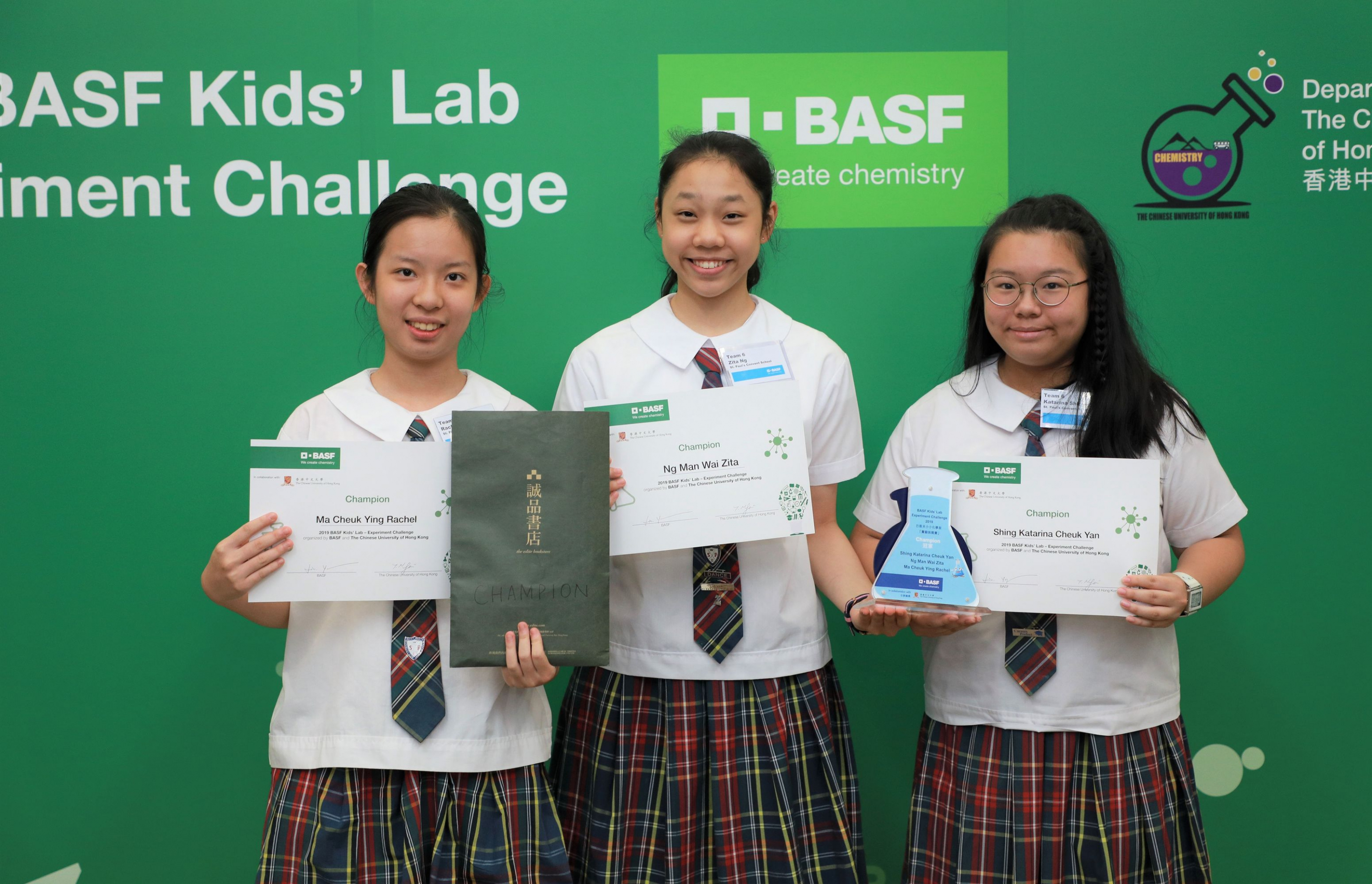 """Rachel Ma, Zita Ng, and Katarina Shing (left to right), students from St. Paul's Convent School won the BASF Kids' Lab Experiment Challenge 2019 with their safe and interesting experiment, """"Artificial Leaf""""."""