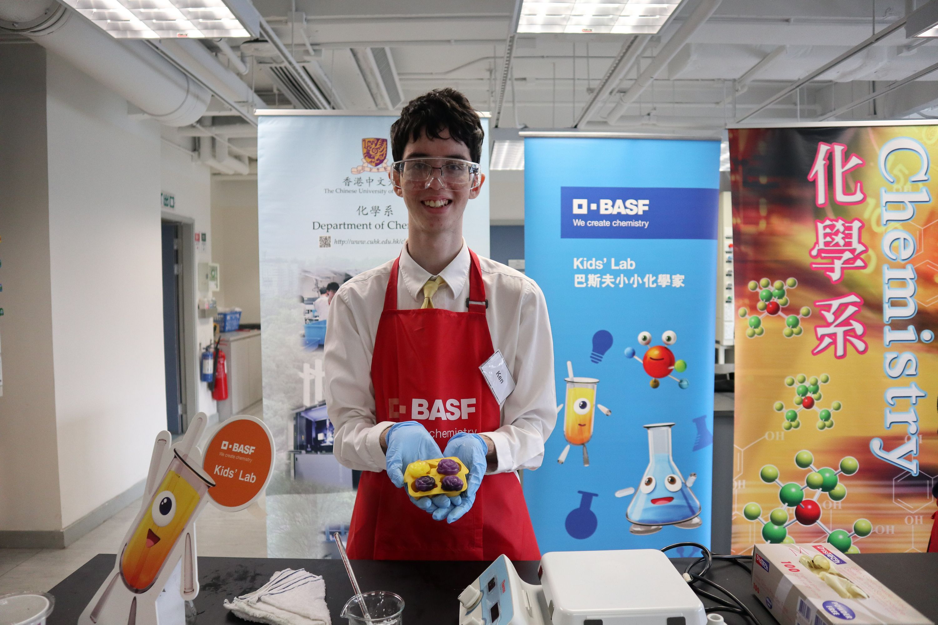 """With their experiment """"Plastato"""", the first runners-up Ken Hilton and Austin Tan from HKUGA College demonstrated how they make bio-degradable """"plastic"""" from potatoes and vinegar to replace disposable plastic items, such as utensils."""
