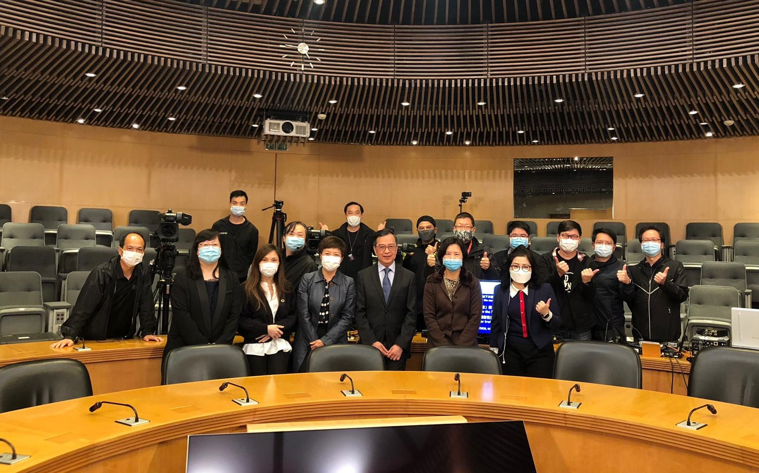 """The first talk was held today when (front row, fourth from the left) Professor Alan Kam Leung Chan, Provost of CUHK, spoke on the topic """"Higher Learning in the Era of Industry 4.0"""" to launch the series."""
