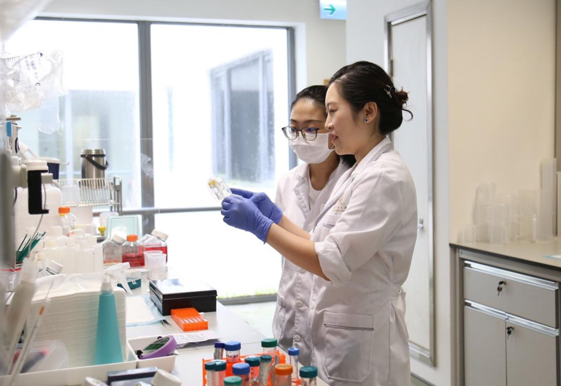 Professor JIANG Yangzi (front) and her student