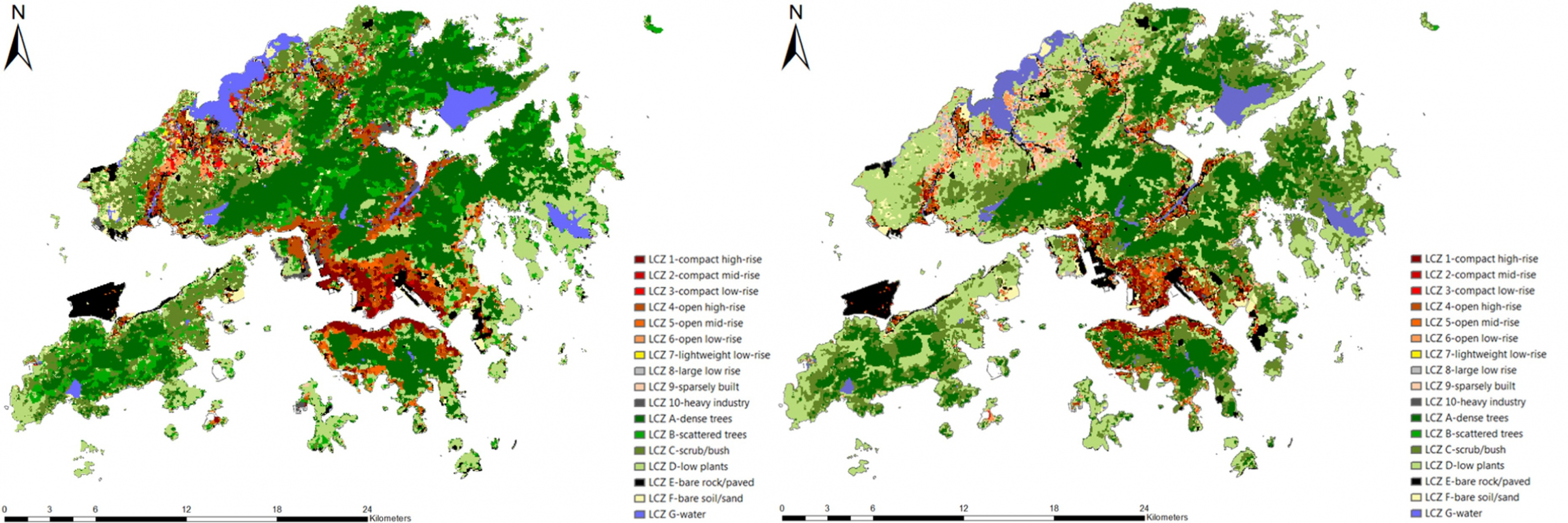 Mapping the local climate zones in Hong Kong using different methods.