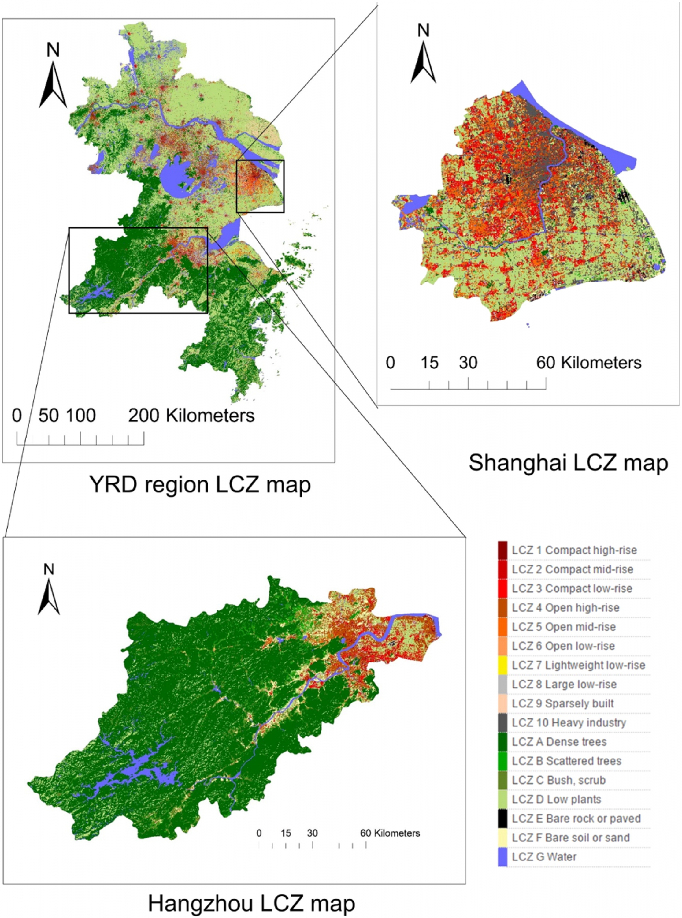 The local climate zone map of Yangtze River Delta in China.
