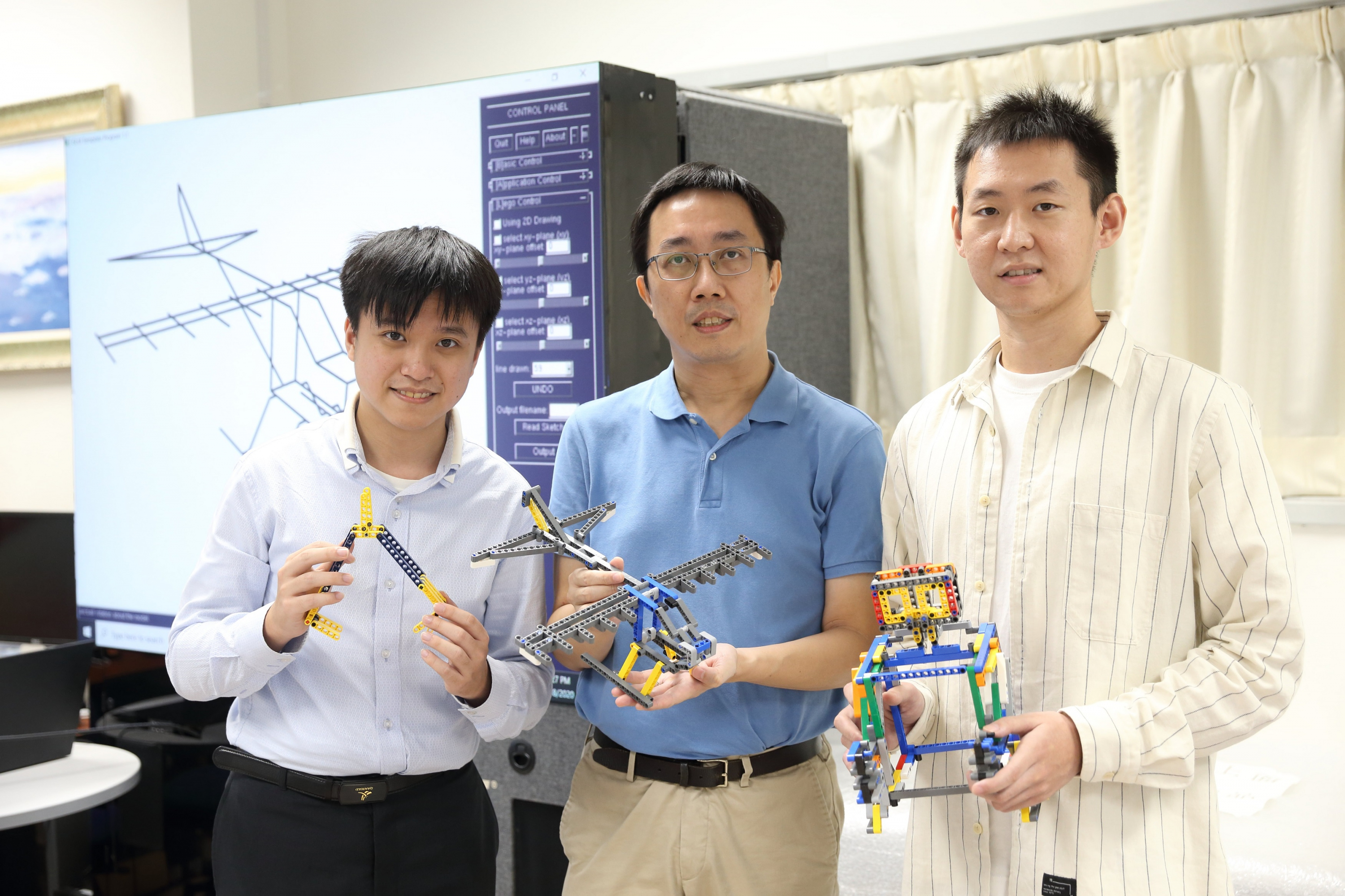 Hao XU (right) studies computational design of assembly blocks, together with Ka-Kei HU (left), under the supervision of Professor Chi-wing FU from the Department of Computer Science and Engineering at CUHK.