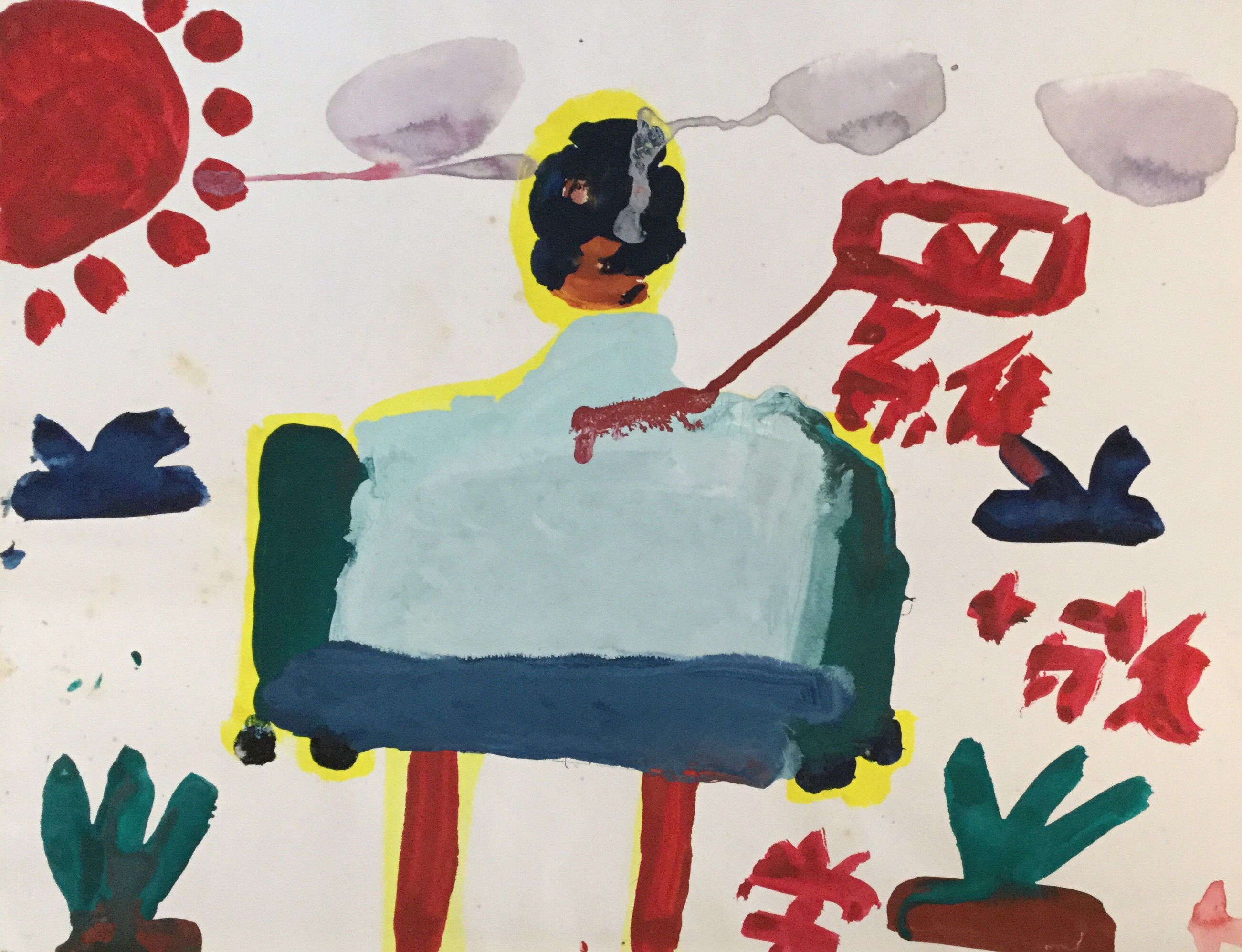 From 1988 to 1991, the artists of Art In the Camps visited the detention camp in Whitehead every week to conduct art education with the children inside. This painting was created by one of them.