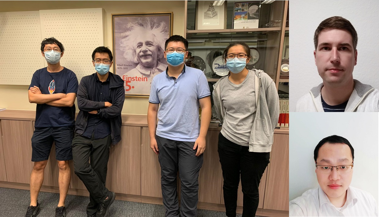 Research team members: (From the left) Professor Sen YANG, Research students Siu Fai HUNG and Yifan CHEN, Undergraduate student Wing Ki LO, visiting scholar Kim KAFENDA (top right) and former CUHK Research Assistant Professor Kangwei XIA (bottom right).