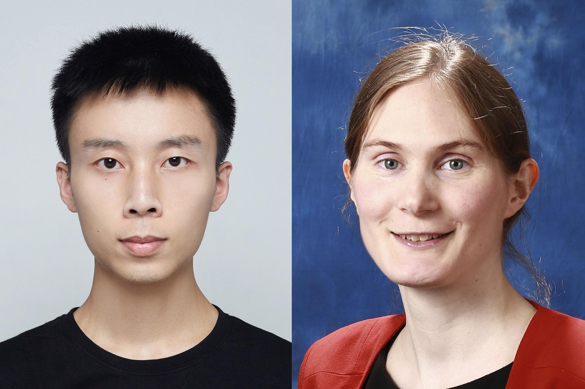 (左至右) 研究文章第一作者、中大工程学院电子工程系博士后研究员陈学权博士及中大工程学院电子工程系兼英国华威大学物理系Emma Pickwell-MacPherson教授。