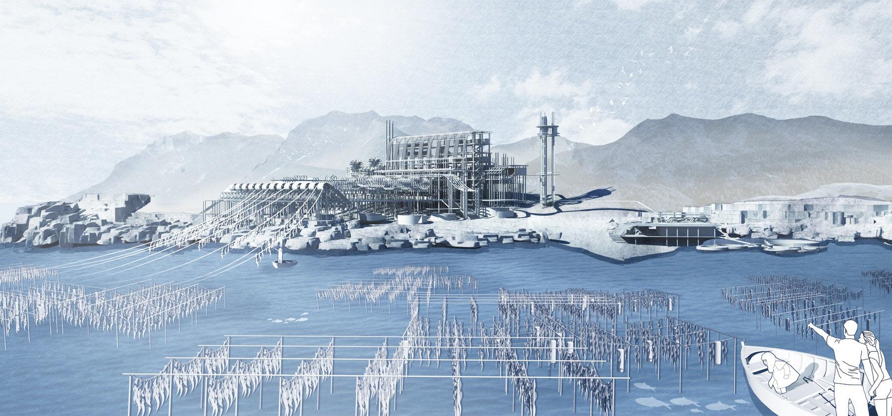 黄乐希《再生建筑:东平洲的海藻机器》构想图。