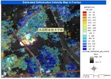 圖三、雷達衛星圖像分析的結果顯示北滘職業技術學校地區的地面沉降速度。
